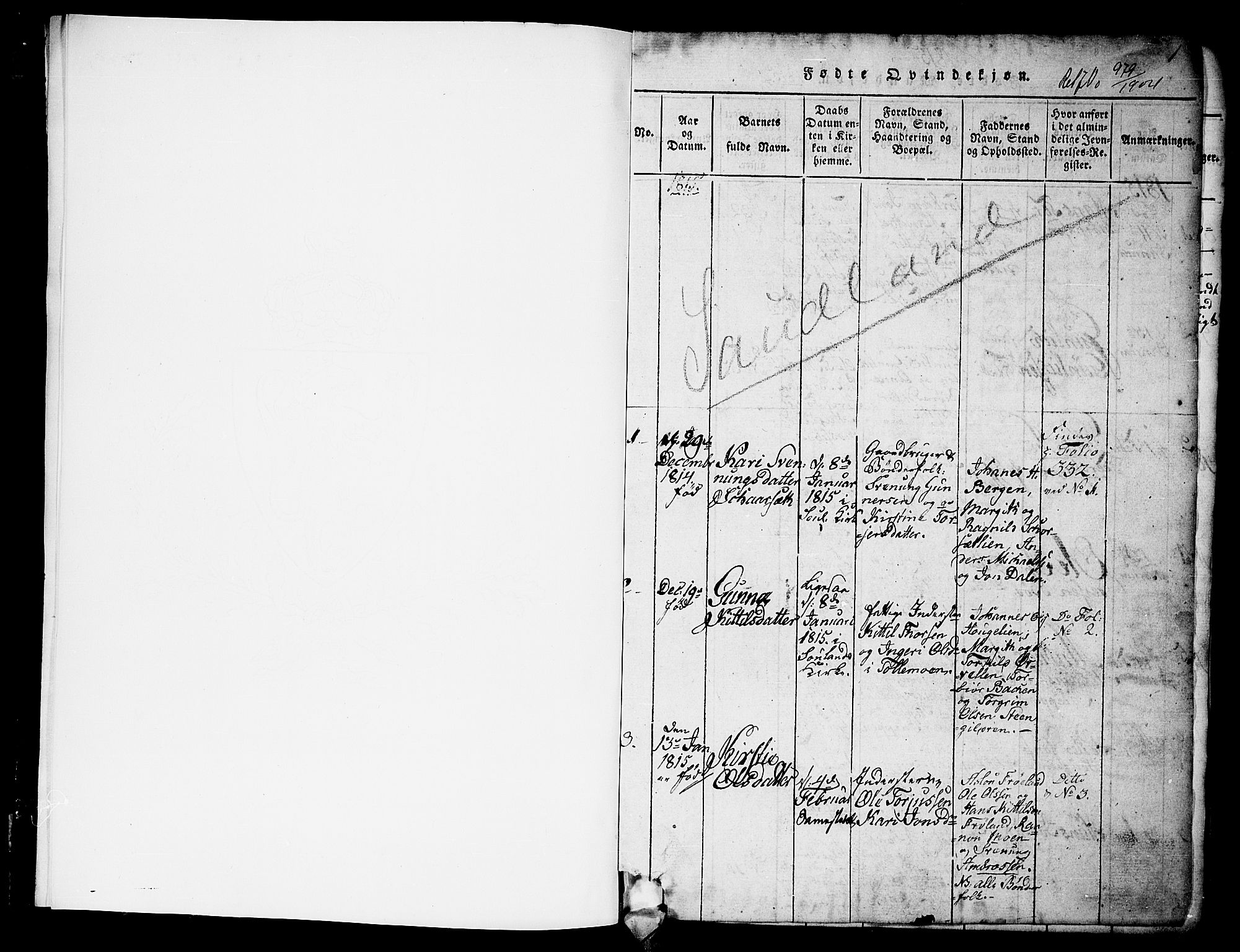 SAKO, Hjartdal kirkebøker, G/Gb/L0001: Klokkerbok nr. II 1, 1815-1842, s. 1