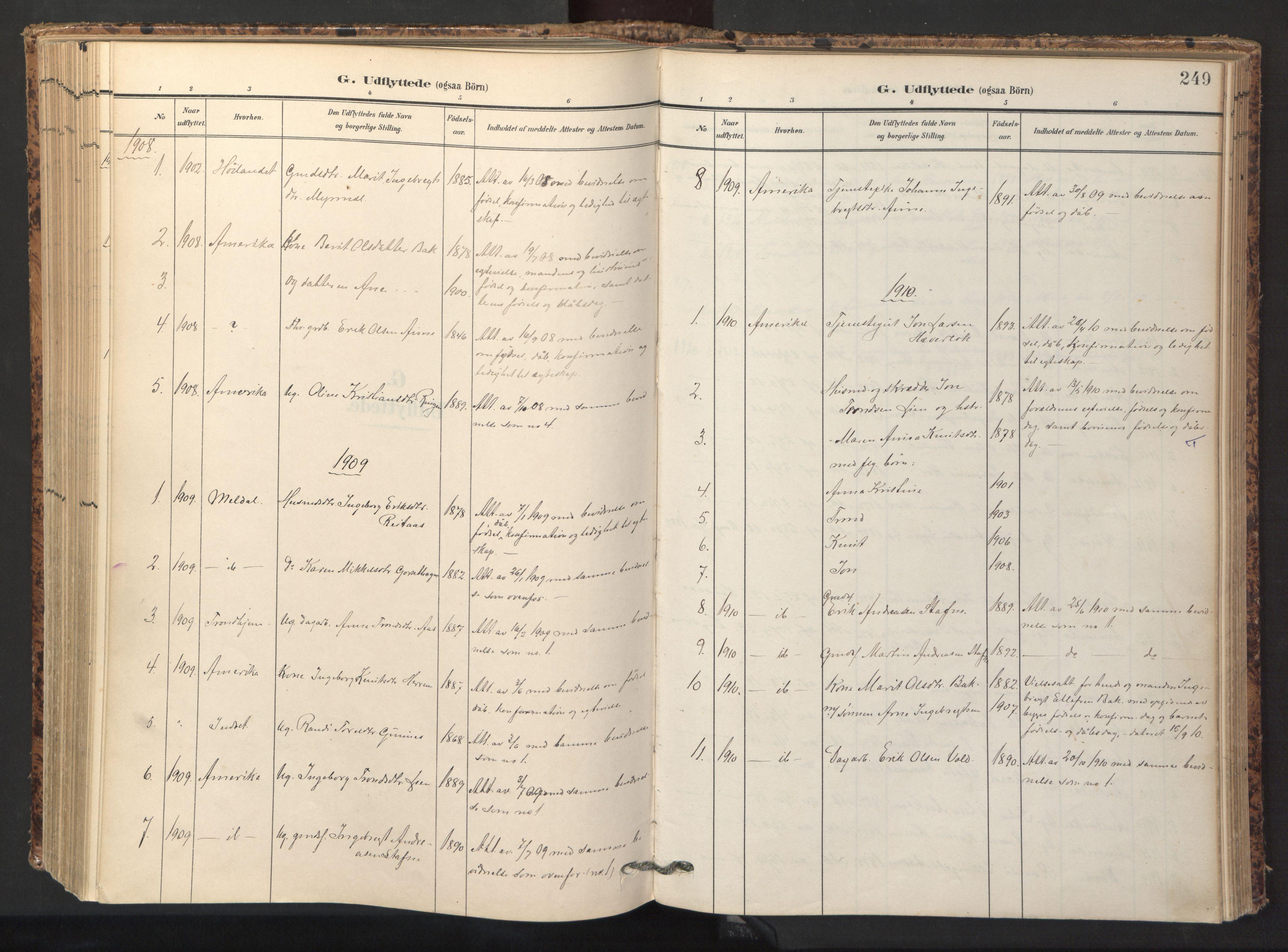 SAT, Ministerialprotokoller, klokkerbøker og fødselsregistre - Sør-Trøndelag, 674/L0873: Ministerialbok nr. 674A05, 1908-1923, s. 249