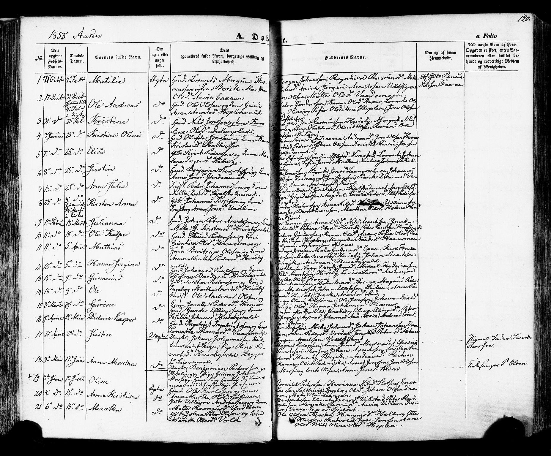 SAT, Ministerialprotokoller, klokkerbøker og fødselsregistre - Nord-Trøndelag, 713/L0116: Ministerialbok nr. 713A07 /2, 1850-1877, s. 120
