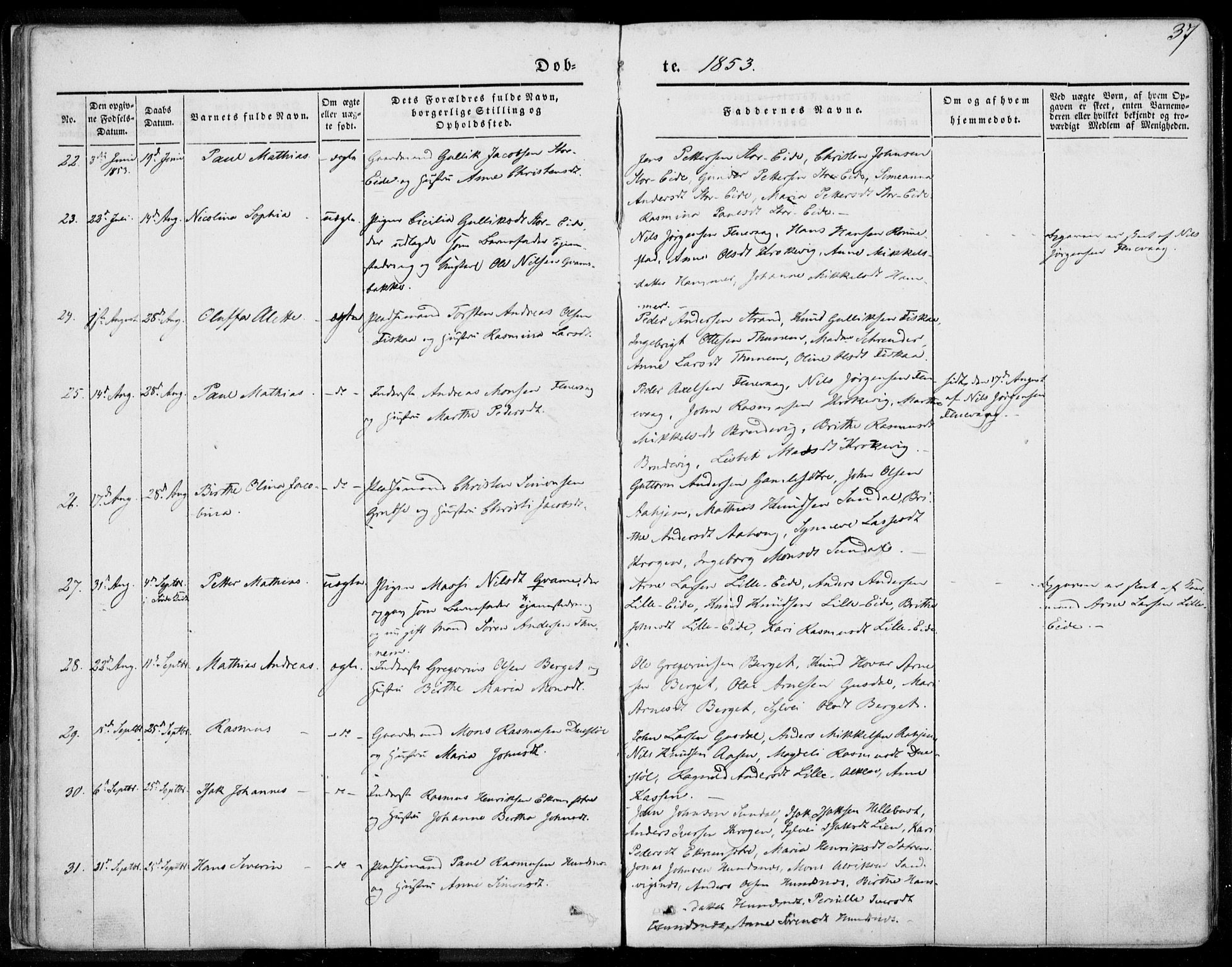 SAT, Ministerialprotokoller, klokkerbøker og fødselsregistre - Møre og Romsdal, 501/L0006: Ministerialbok nr. 501A06, 1844-1868, s. 37
