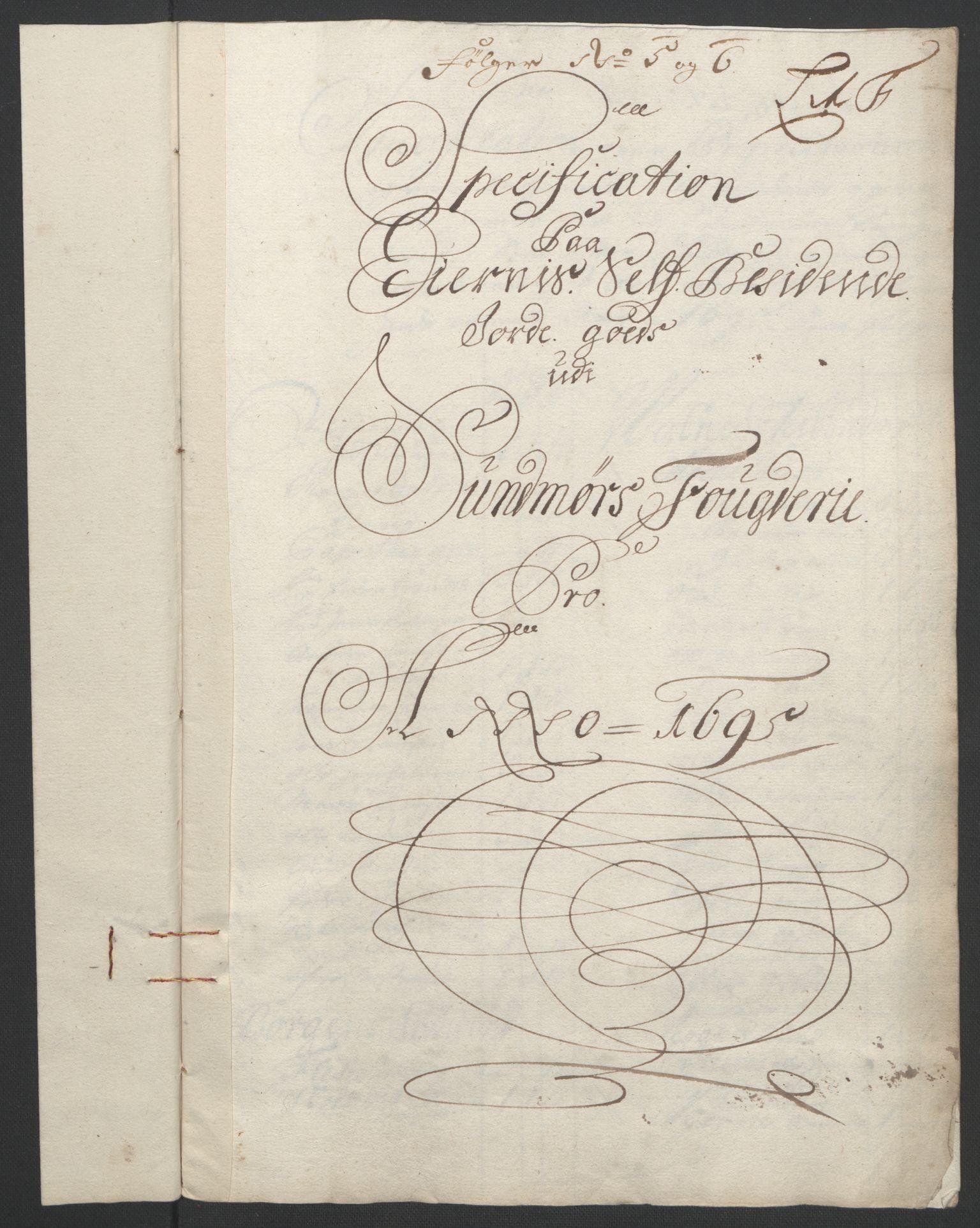 RA, Rentekammeret inntil 1814, Reviderte regnskaper, Fogderegnskap, R54/L3555: Fogderegnskap Sunnmøre, 1694-1695, s. 288