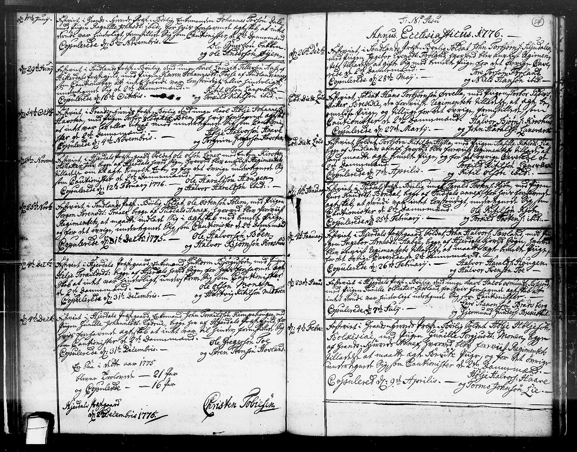 SAKO, Hjartdal kirkebøker, F/Fa/L0004: Ministerialbok nr. I 4, 1727-1795, s. 54