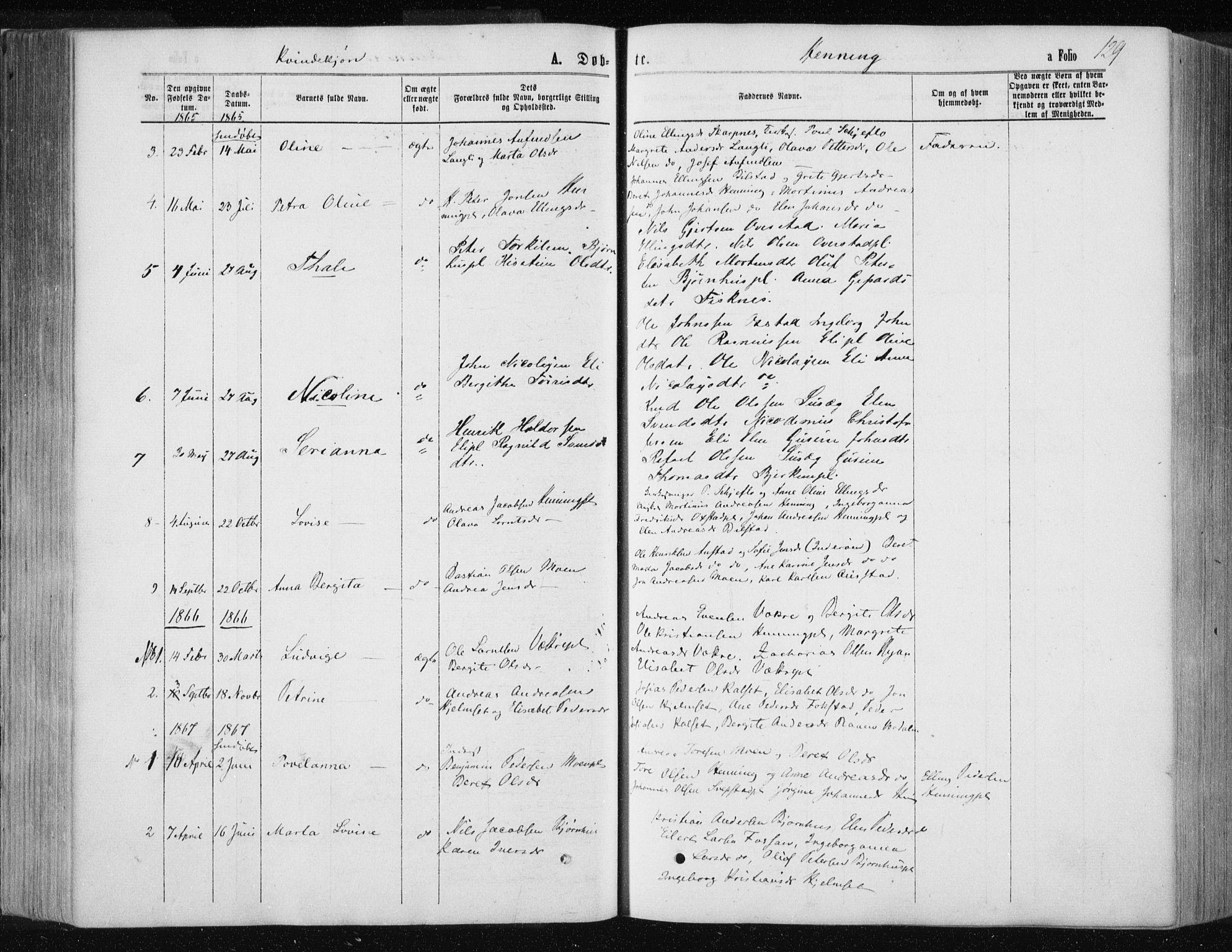 SAT, Ministerialprotokoller, klokkerbøker og fødselsregistre - Nord-Trøndelag, 735/L0345: Ministerialbok nr. 735A08 /3, 1863-1872, s. 129