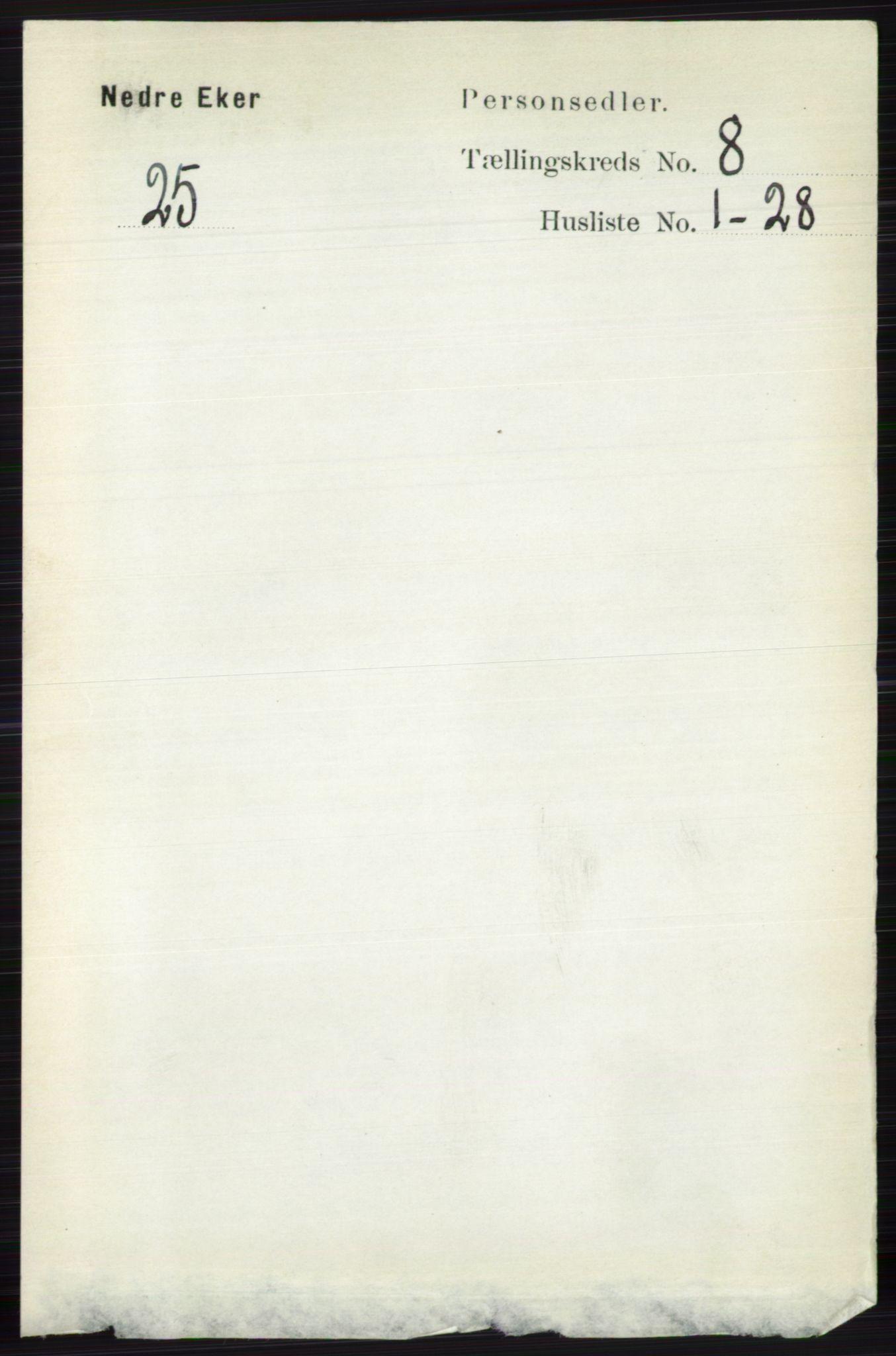 RA, Folketelling 1891 for 0625 Nedre Eiker herred, 1891, s. 3952