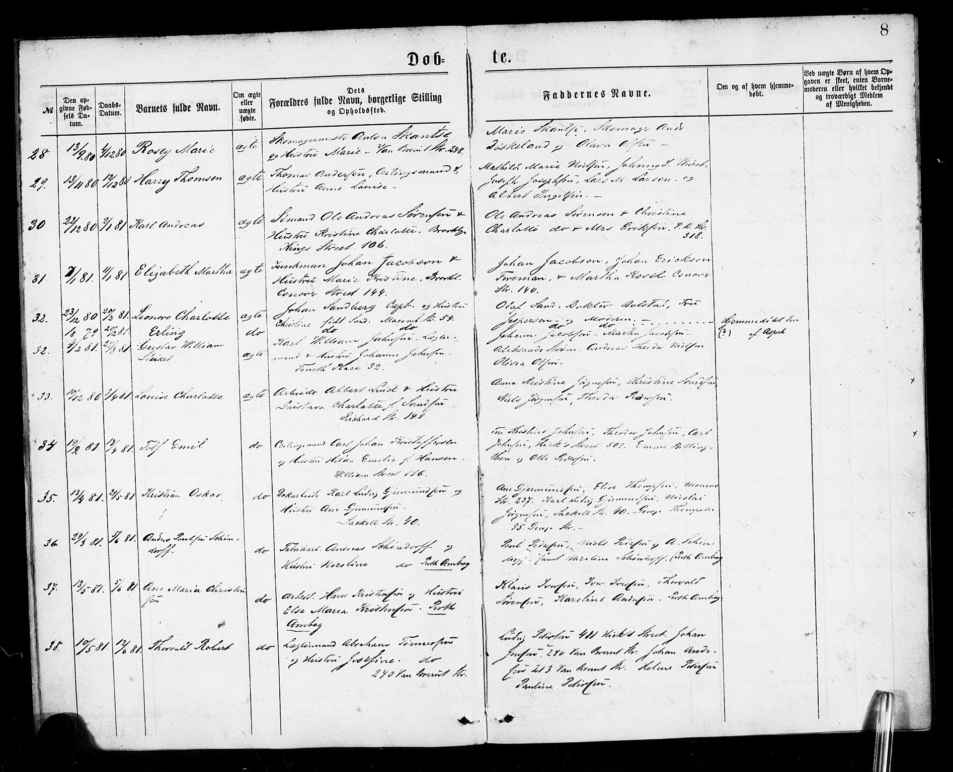 SAB, Den Norske Sjømannsmisjon i utlandet*, Ministerialbok nr. A 1, 1878-1885, s. 8