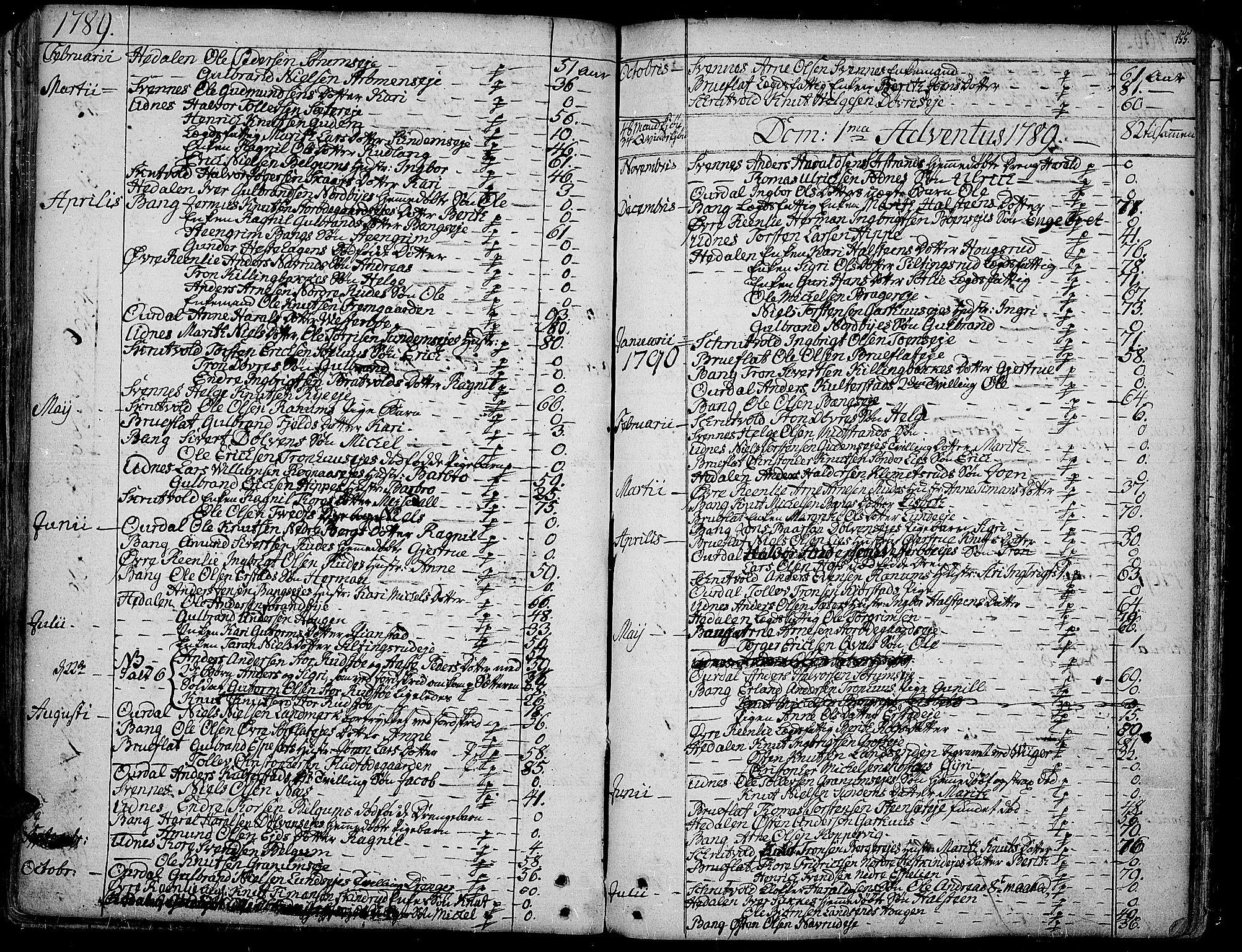 SAH, Aurdal prestekontor, Ministerialbok nr. 6, 1781-1804, s. 155