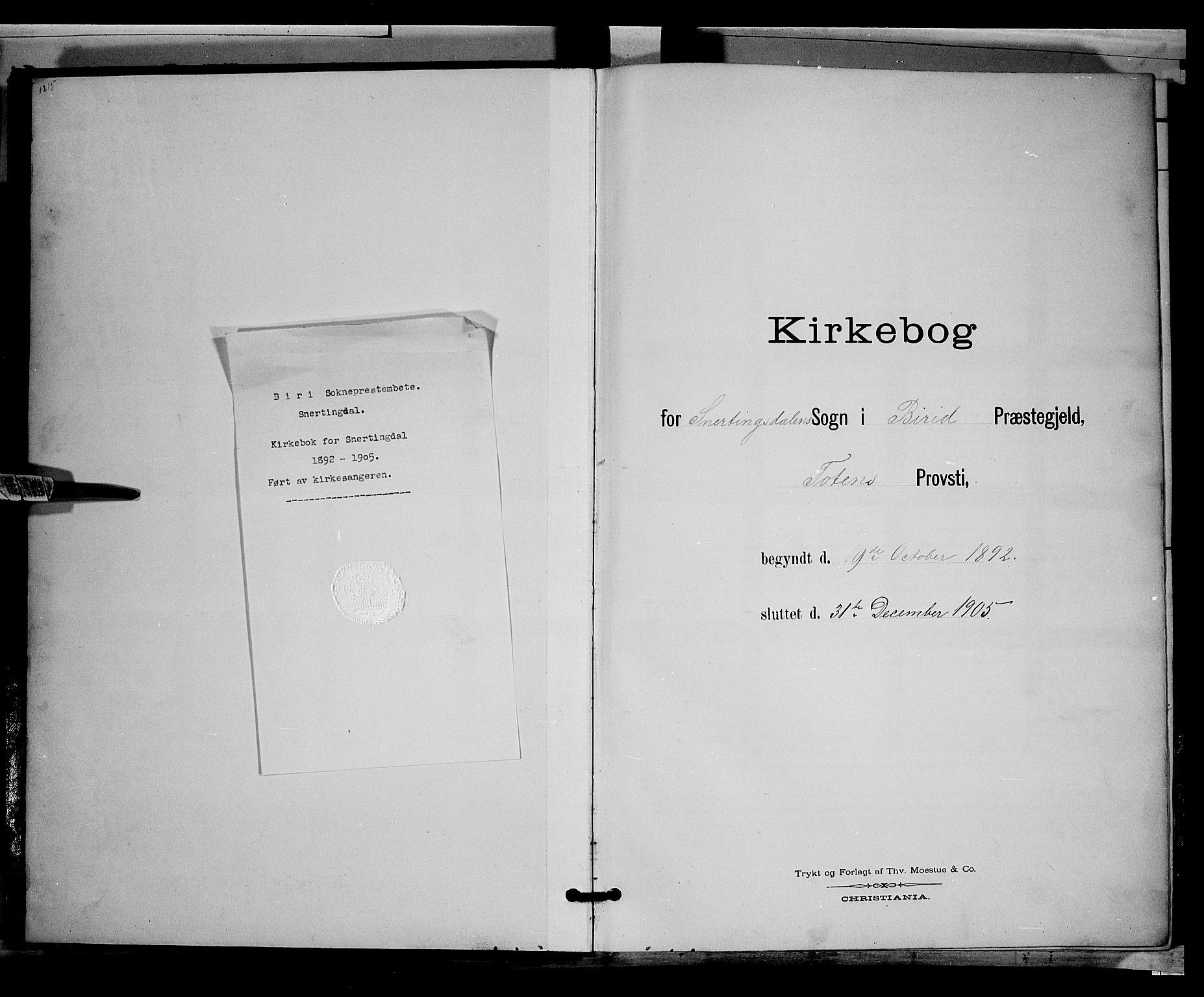 SAH, Biri prestekontor, Klokkerbok nr. 3, 1892-1905