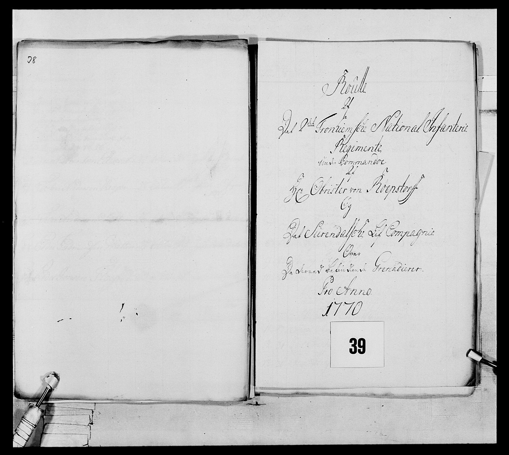 RA, Generalitets- og kommissariatskollegiet, Det kongelige norske kommissariatskollegium, E/Eh/L0076: 2. Trondheimske nasjonale infanteriregiment, 1766-1773, s. 120