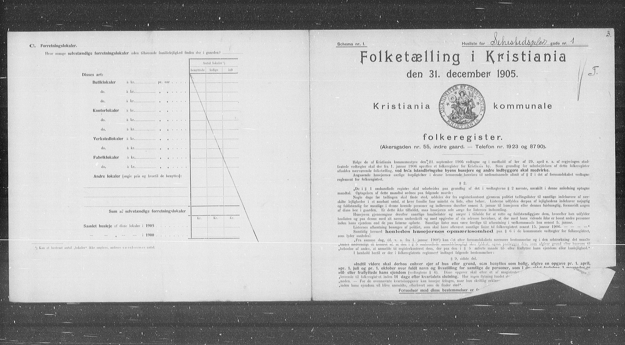 OBA, Kommunal folketelling 1905 for Kristiania kjøpstad, 1905, s. 48697