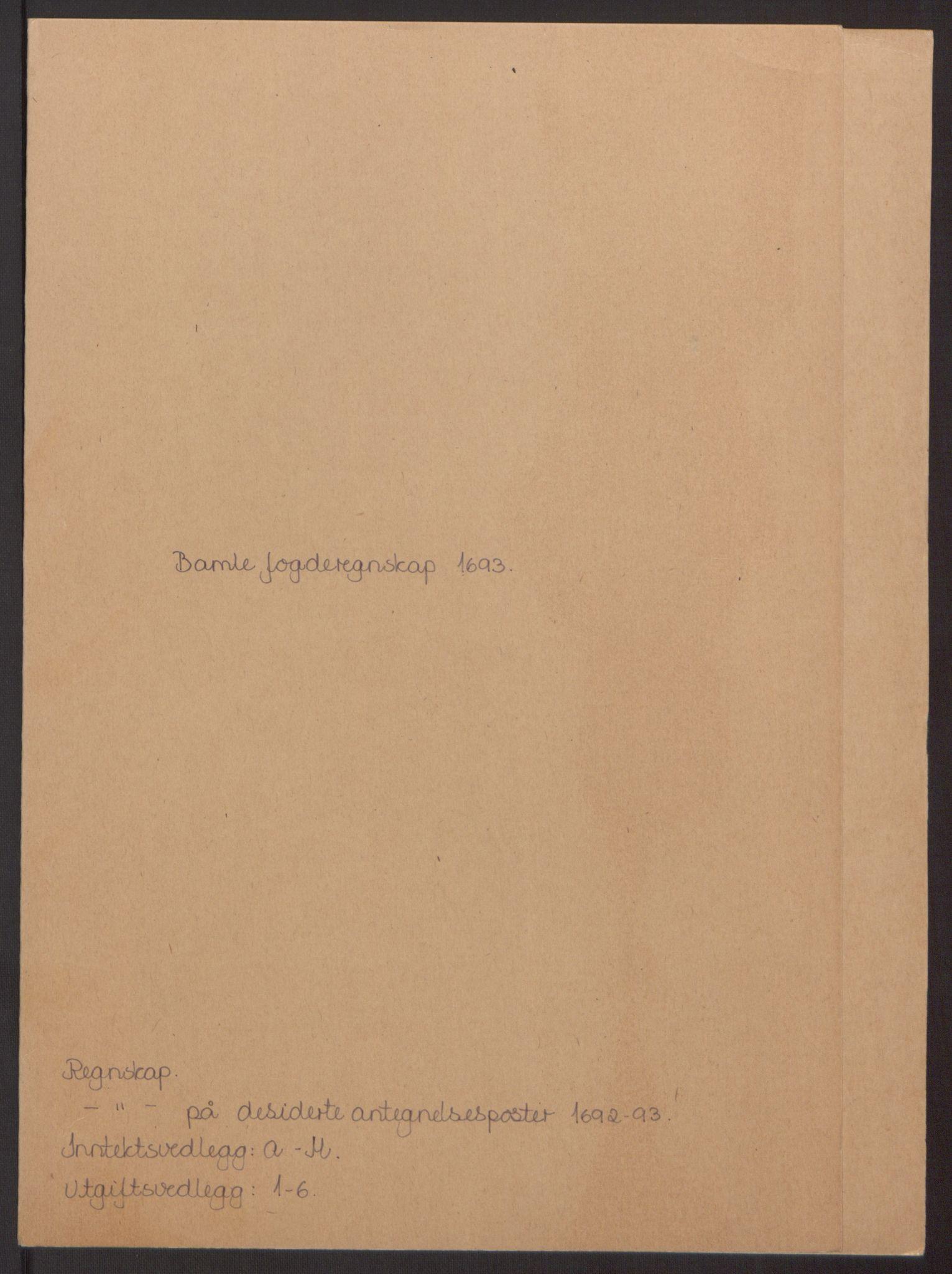 RA, Rentekammeret inntil 1814, Reviderte regnskaper, Fogderegnskap, R34/L2052: Fogderegnskap Bamble, 1692-1693, s. 284