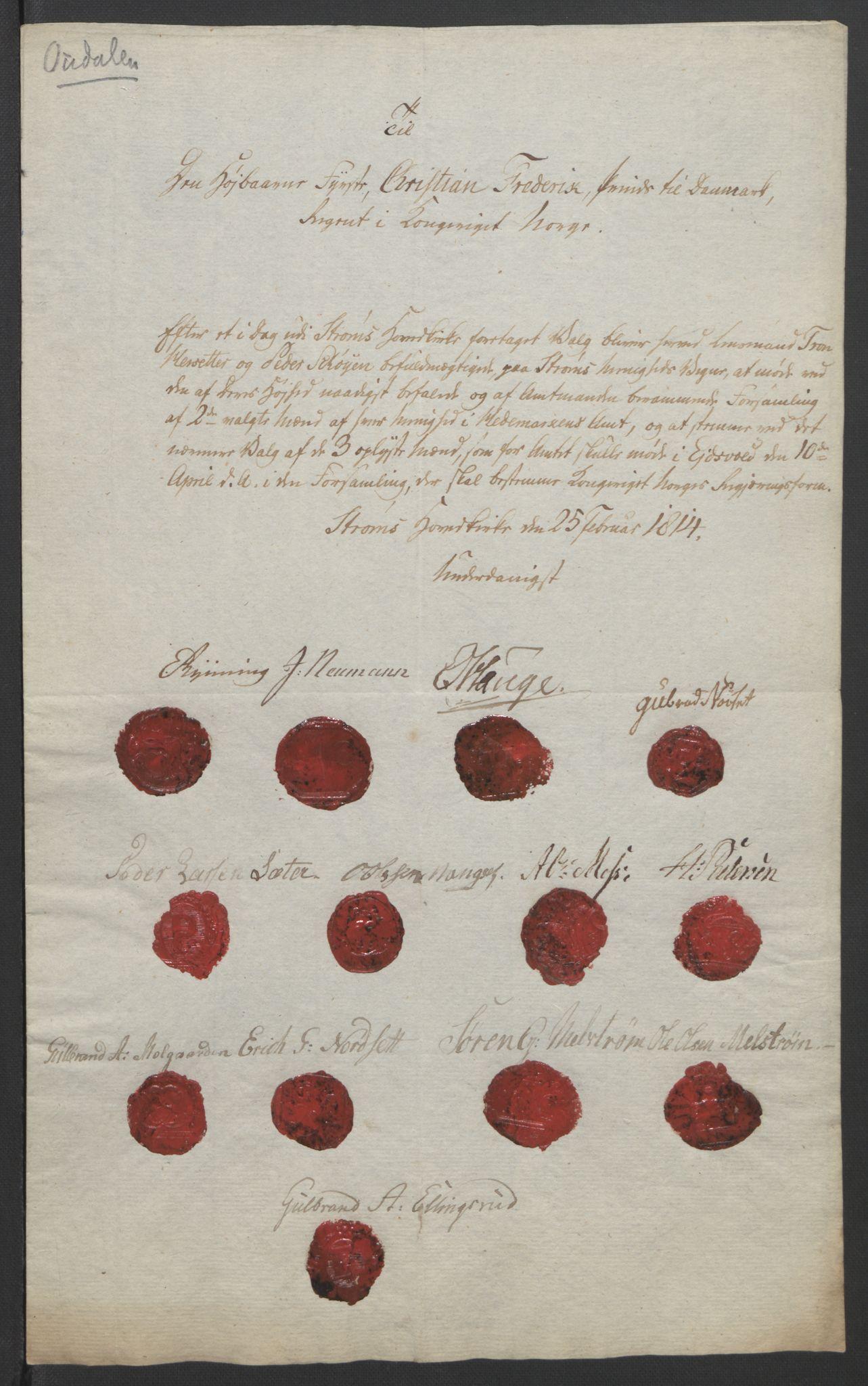 RA, Statsrådssekretariatet, D/Db/L0007: Fullmakter for Eidsvollsrepresentantene i 1814. , 1814, s. 231