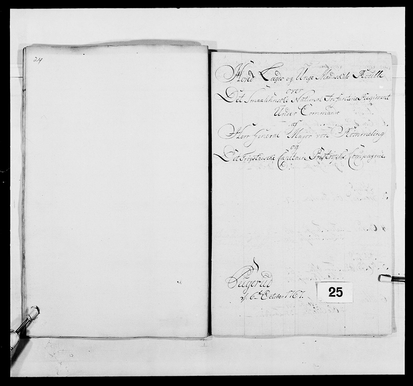 RA, Kommanderende general (KG I) med Det norske krigsdirektorium, E/Ea/L0496: 1. Smålenske regiment, 1765-1767, s. 454