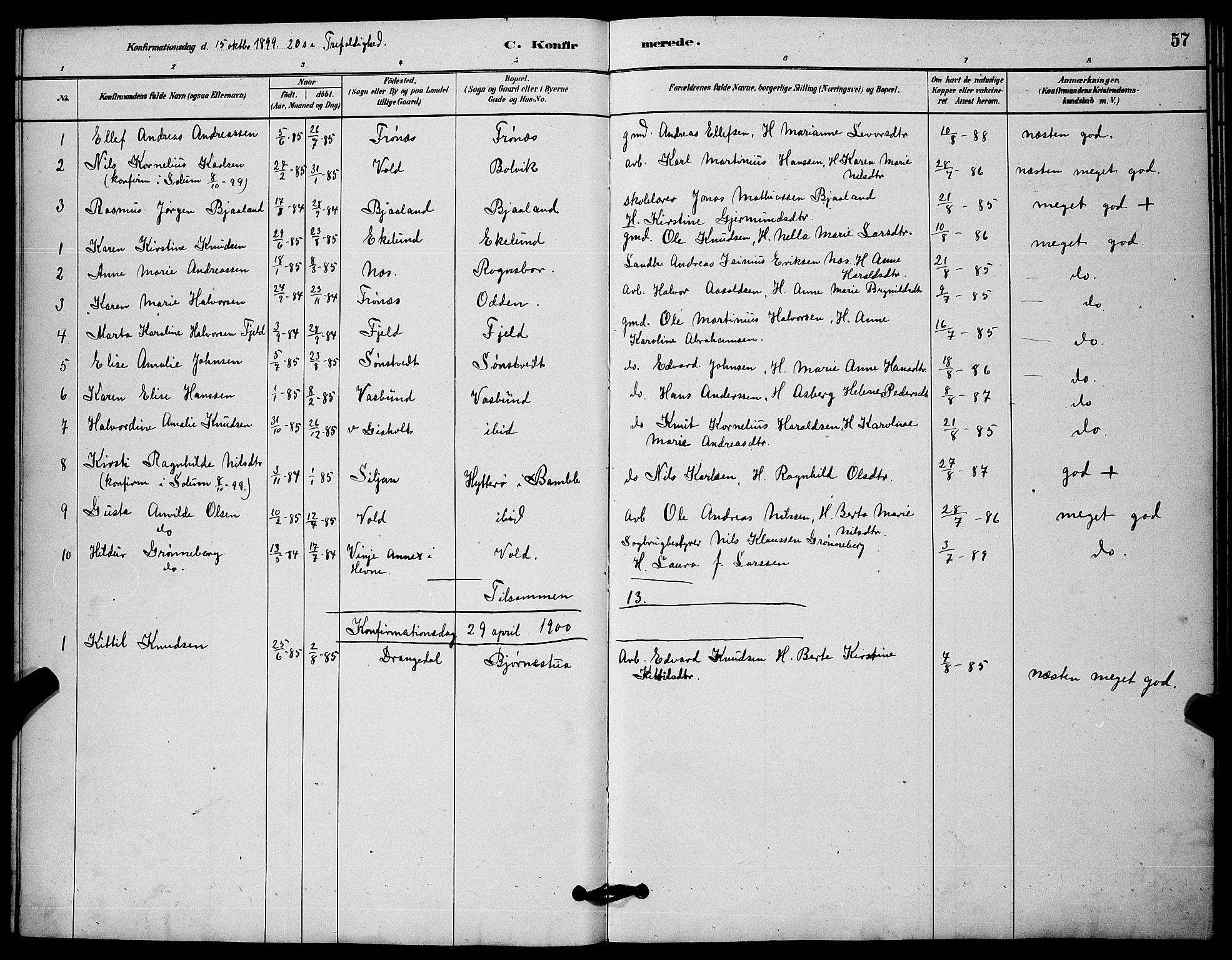 SAKO, Solum kirkebøker, G/Gc/L0001: Klokkerbok nr. III 1, 1880-1902, s. 57