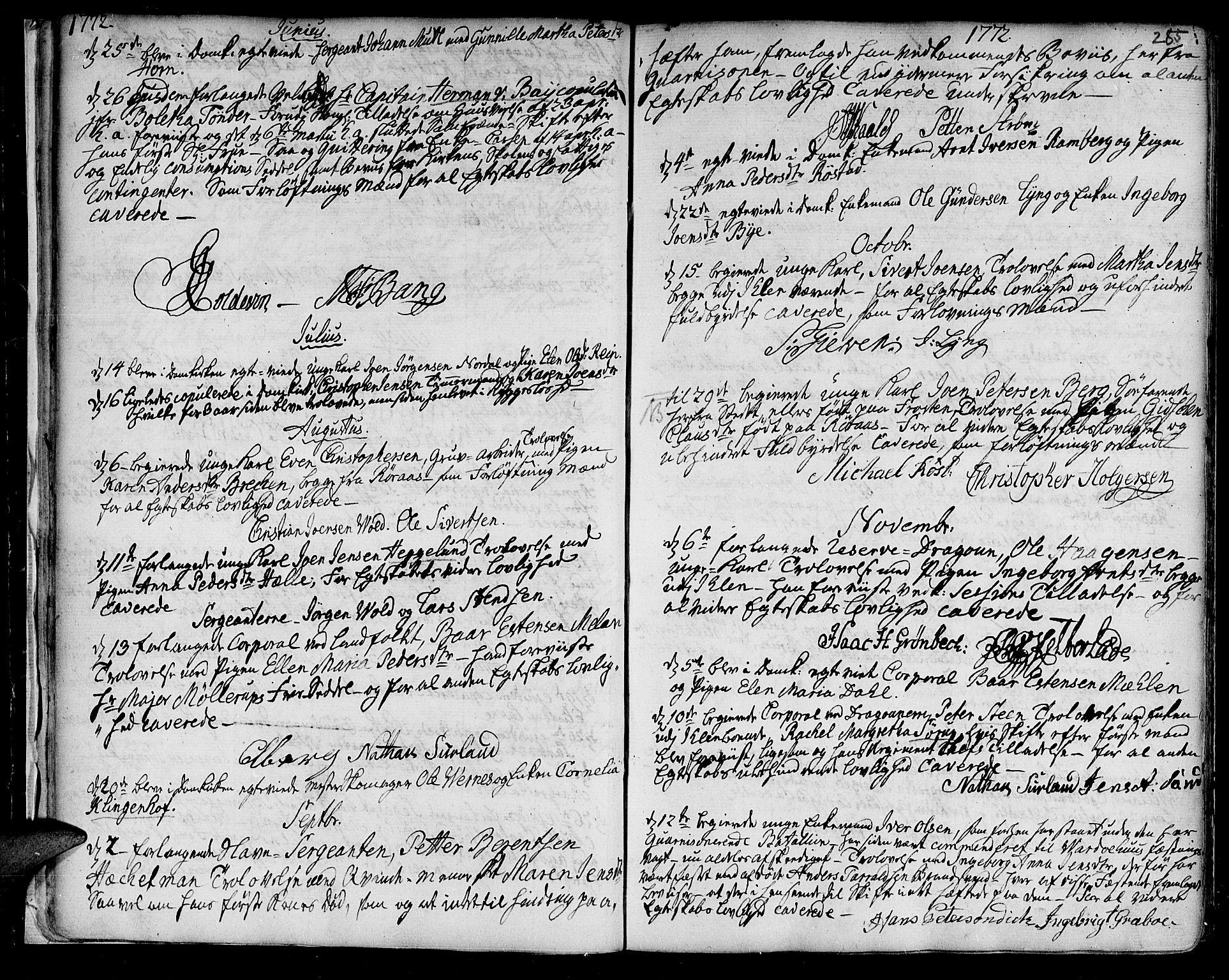 SAT, Ministerialprotokoller, klokkerbøker og fødselsregistre - Sør-Trøndelag, 601/L0038: Ministerialbok nr. 601A06, 1766-1877, s. 285