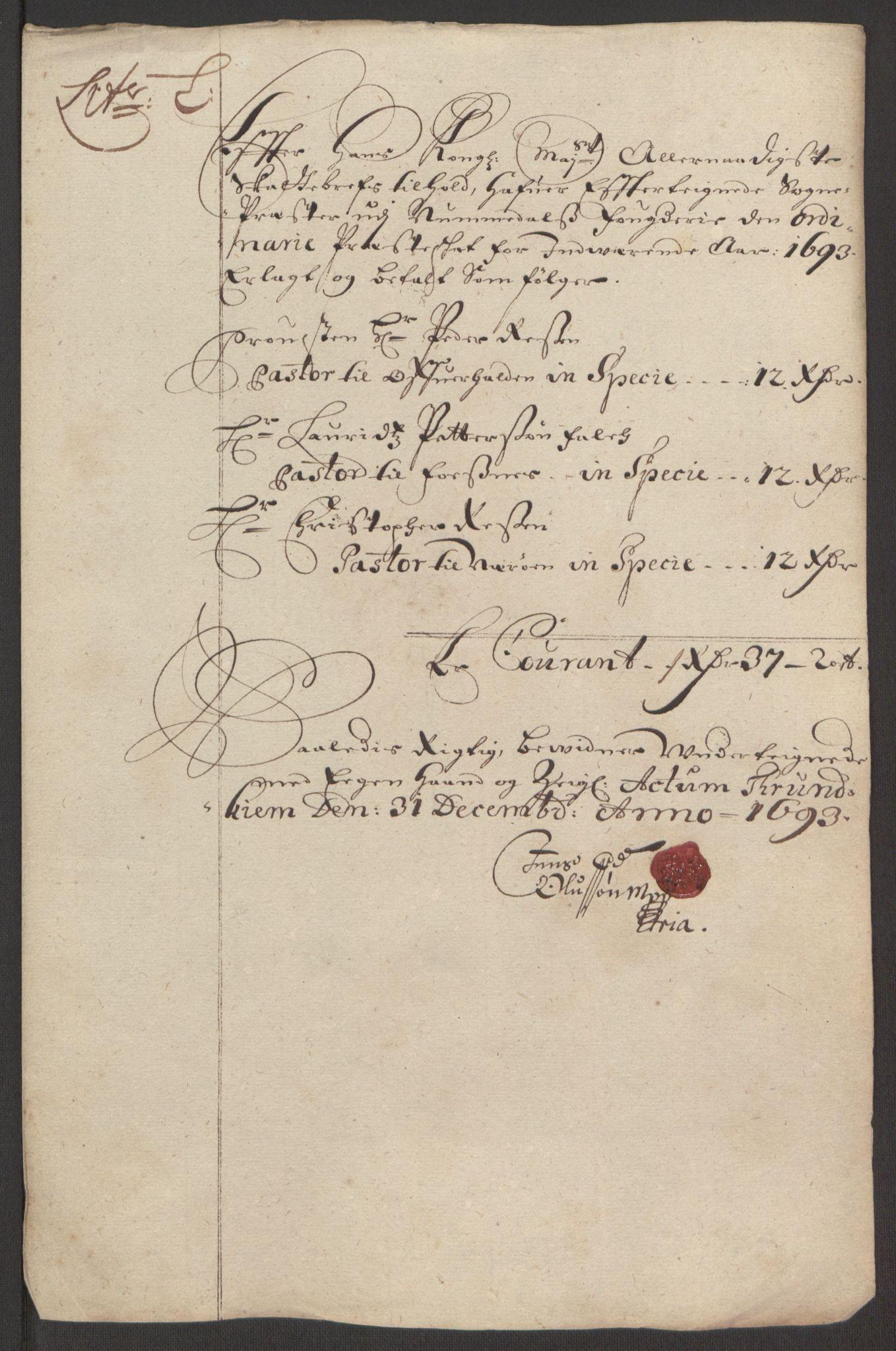 RA, Rentekammeret inntil 1814, Reviderte regnskaper, Fogderegnskap, R64/L4424: Fogderegnskap Namdal, 1692-1695, s. 305