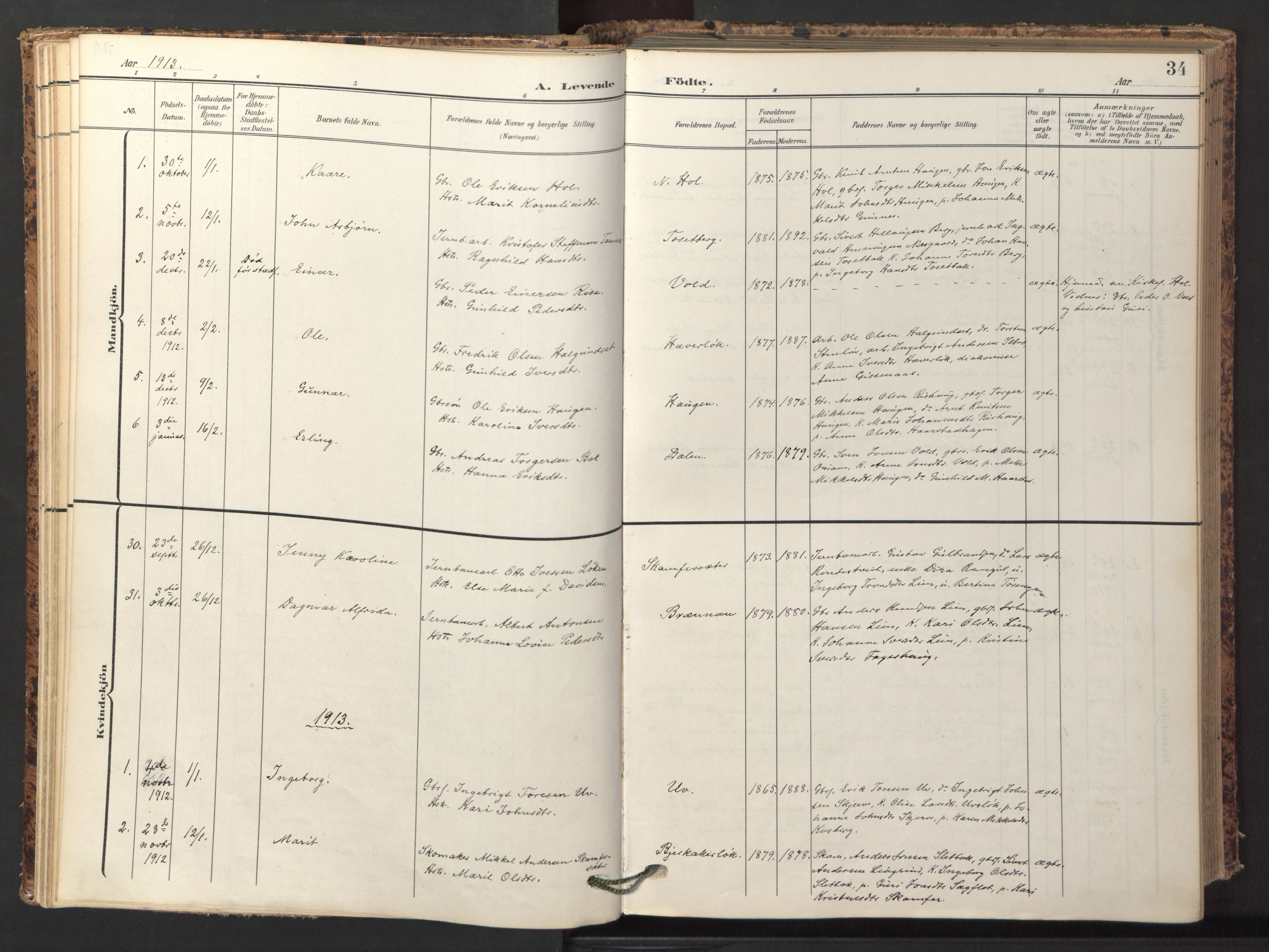 SAT, Ministerialprotokoller, klokkerbøker og fødselsregistre - Sør-Trøndelag, 674/L0873: Ministerialbok nr. 674A05, 1908-1923, s. 34