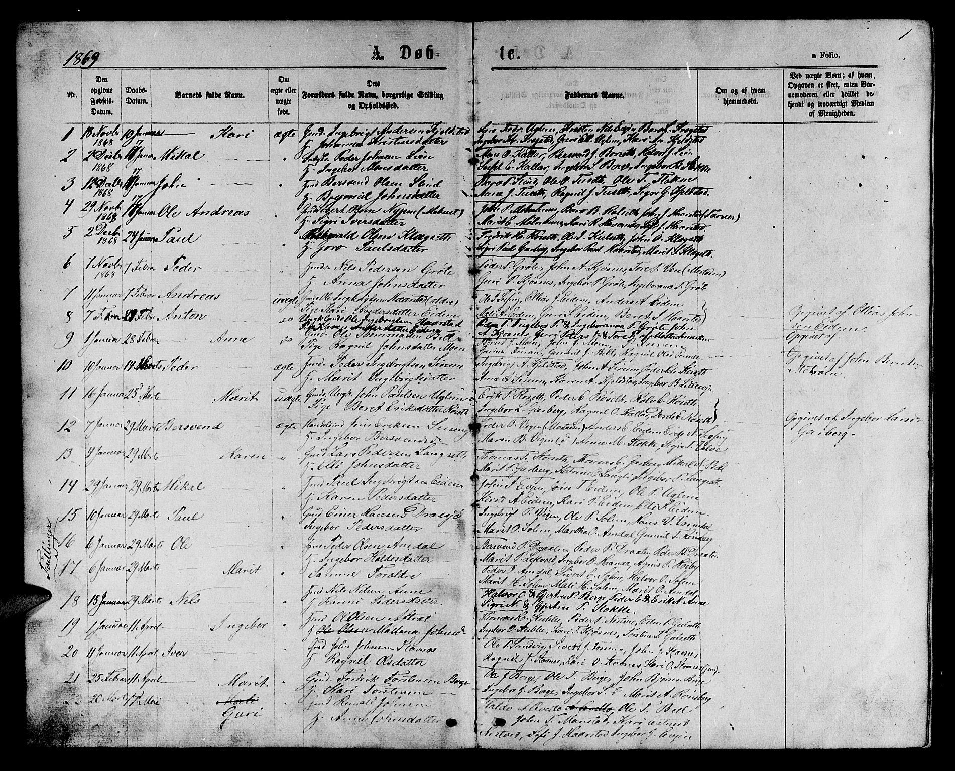 SAT, Ministerialprotokoller, klokkerbøker og fødselsregistre - Sør-Trøndelag, 695/L1156: Klokkerbok nr. 695C07, 1869-1888, s. 1