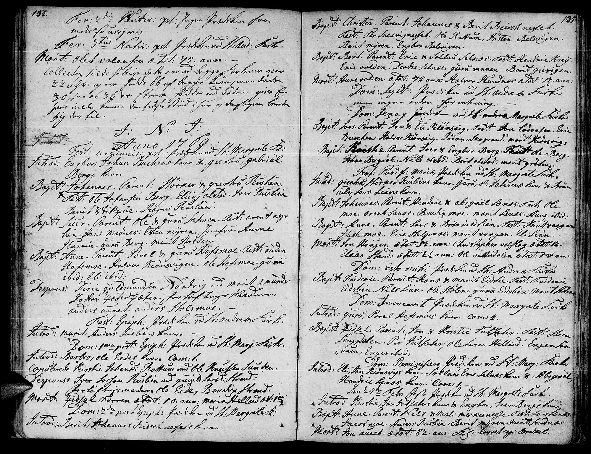 SAT, Ministerialprotokoller, klokkerbøker og fødselsregistre - Sør-Trøndelag, 630/L0489: Ministerialbok nr. 630A02, 1757-1794, s. 134-135