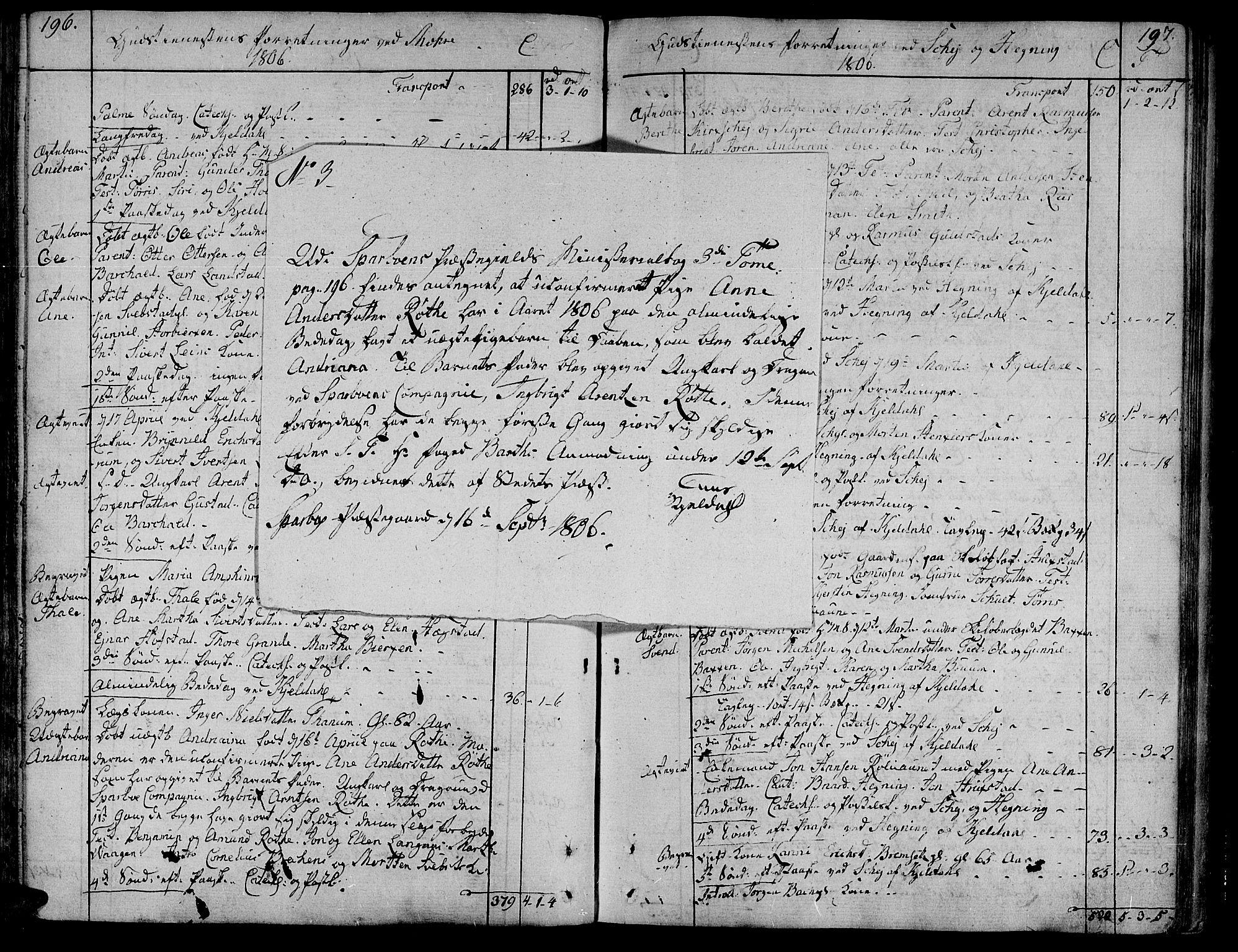 SAT, Ministerialprotokoller, klokkerbøker og fødselsregistre - Nord-Trøndelag, 735/L0332: Ministerialbok nr. 735A03, 1795-1816, s. 196-197