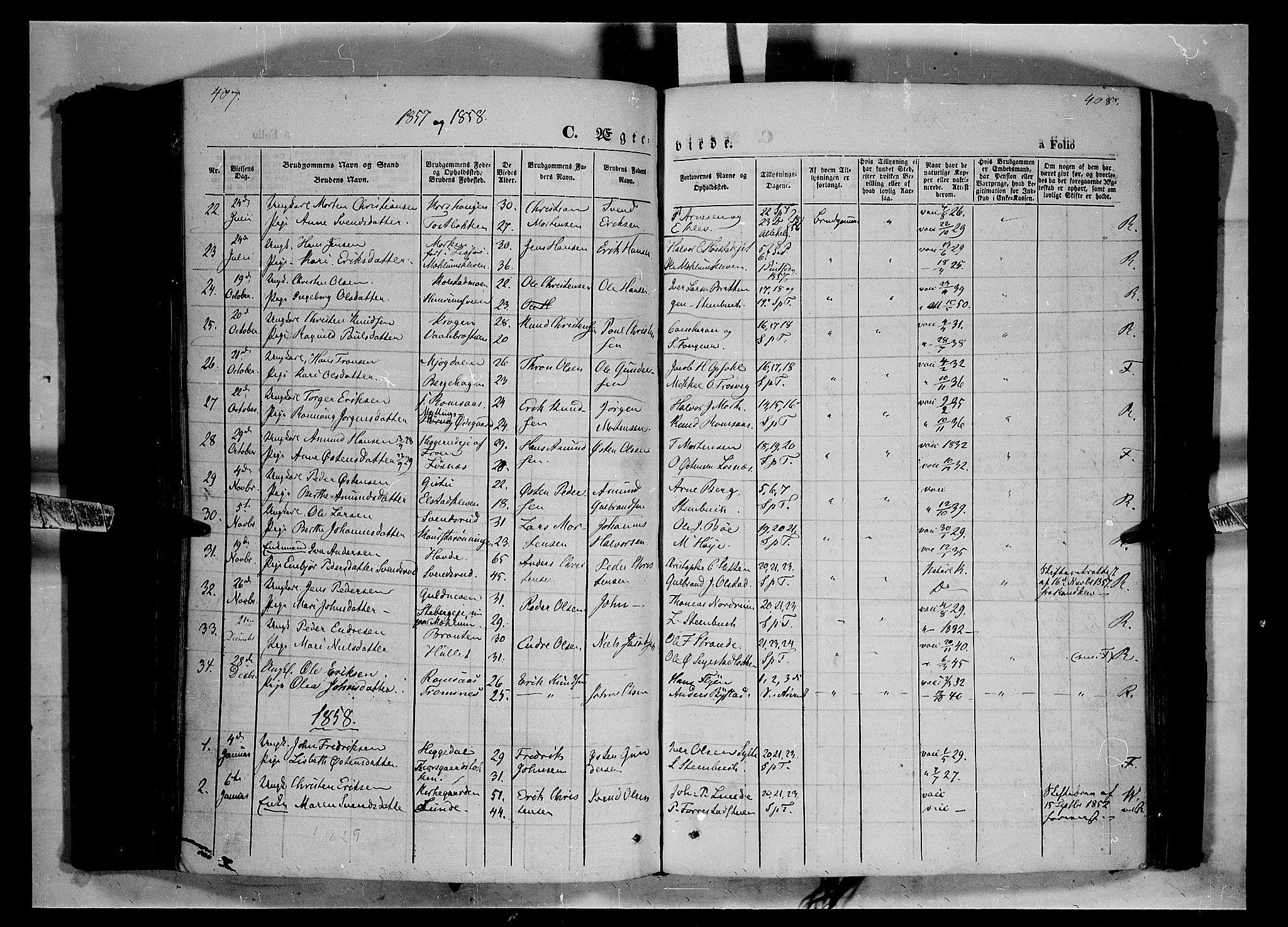SAH, Ringebu prestekontor, Ministerialbok nr. 6, 1848-1859, s. 407-408