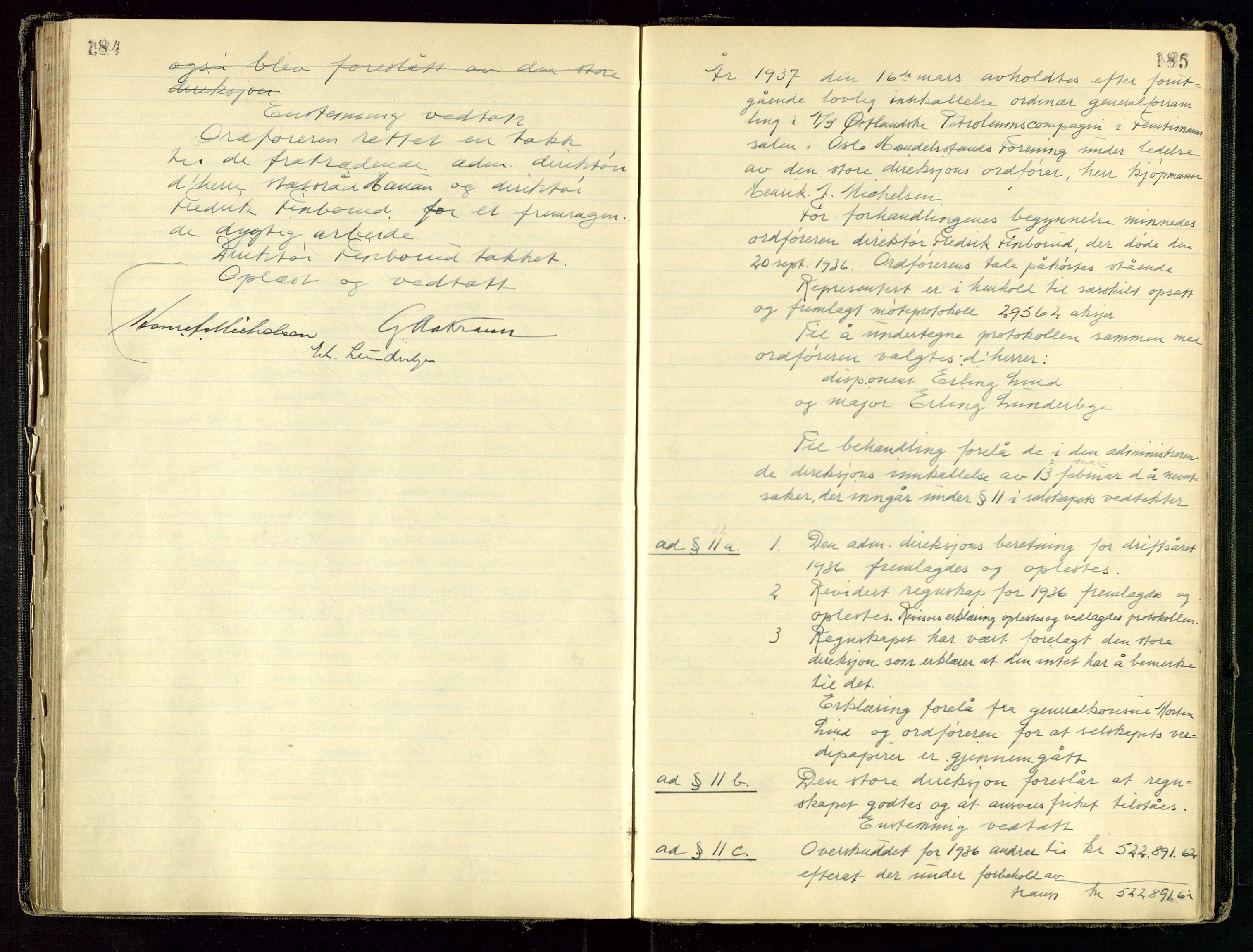 SAST, PA 1534 - Østlandske Petroleumscompagni A/S, A/Aa/L0001: Generalforsamlinger og direksjonsprotokoller., 1892-1960, s. 184-185