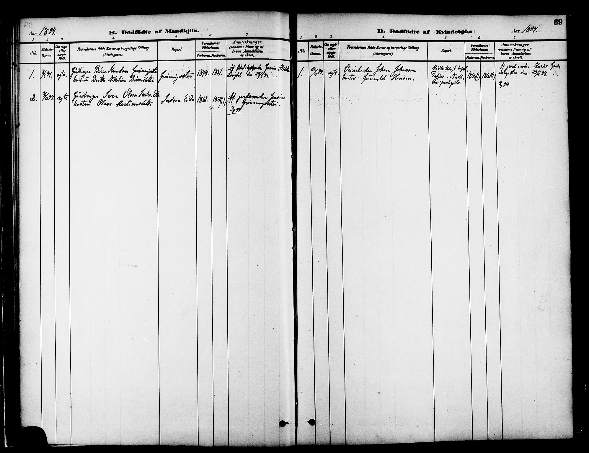 SAT, Ministerialprotokoller, klokkerbøker og fødselsregistre - Møre og Romsdal, 519/L0255: Ministerialbok nr. 519A14, 1884-1908, s. 69