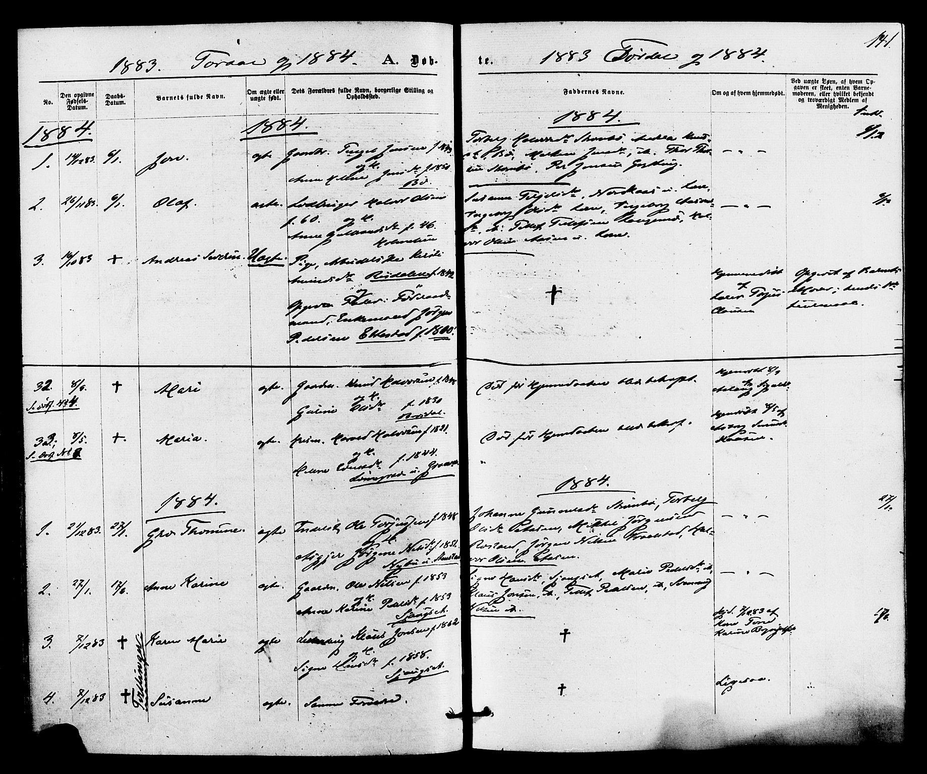 SAKO, Drangedal kirkebøker, F/Fa/L0009: Ministerialbok nr. 9 /2, 1872-1884, s. 141