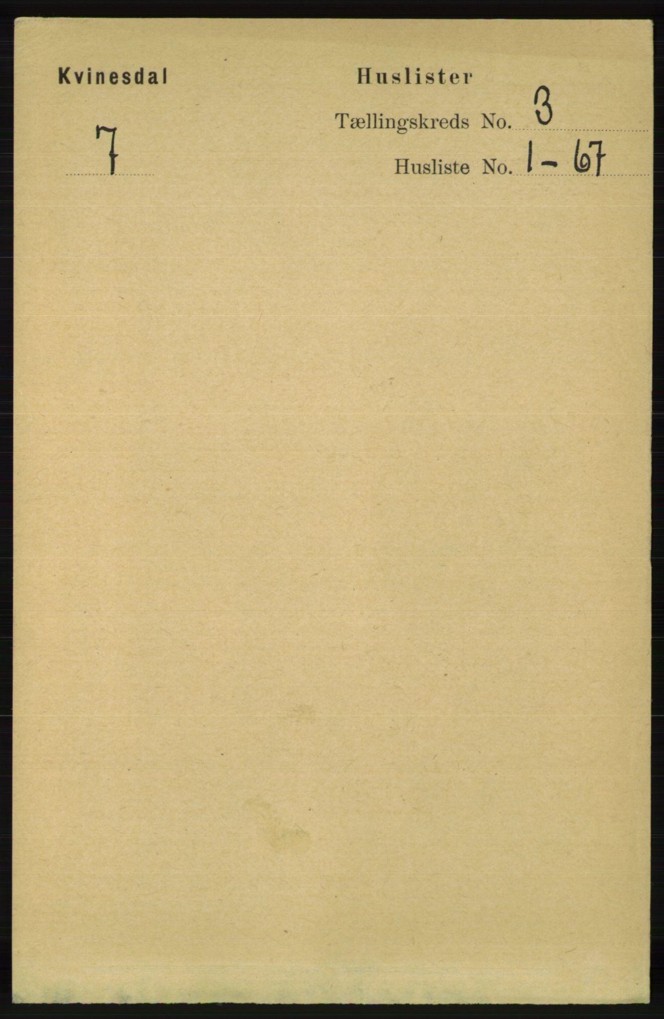RA, Folketelling 1891 for 1037 Kvinesdal herred, 1891, s. 955