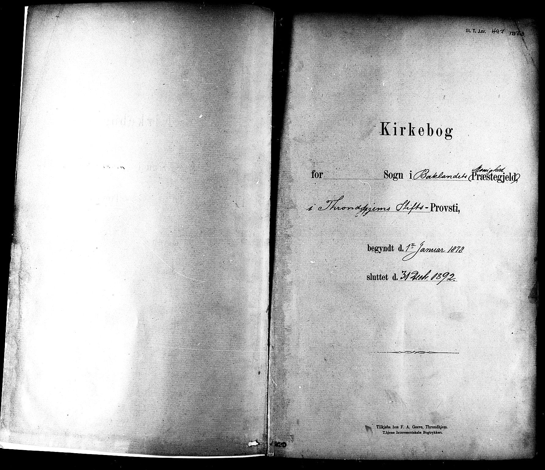 SAT, Ministerialprotokoller, klokkerbøker og fødselsregistre - Sør-Trøndelag, 604/L0188: Ministerialbok nr. 604A09, 1878-1892