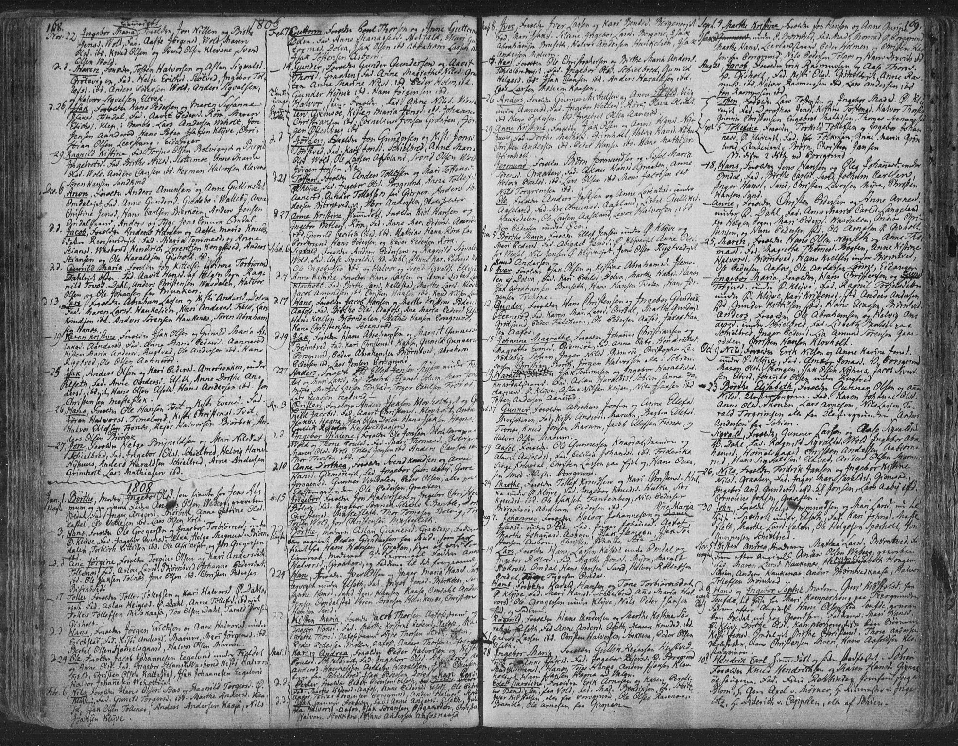 SAKO, Solum kirkebøker, F/Fa/L0003: Ministerialbok nr. I 3, 1761-1814, s. 168-169