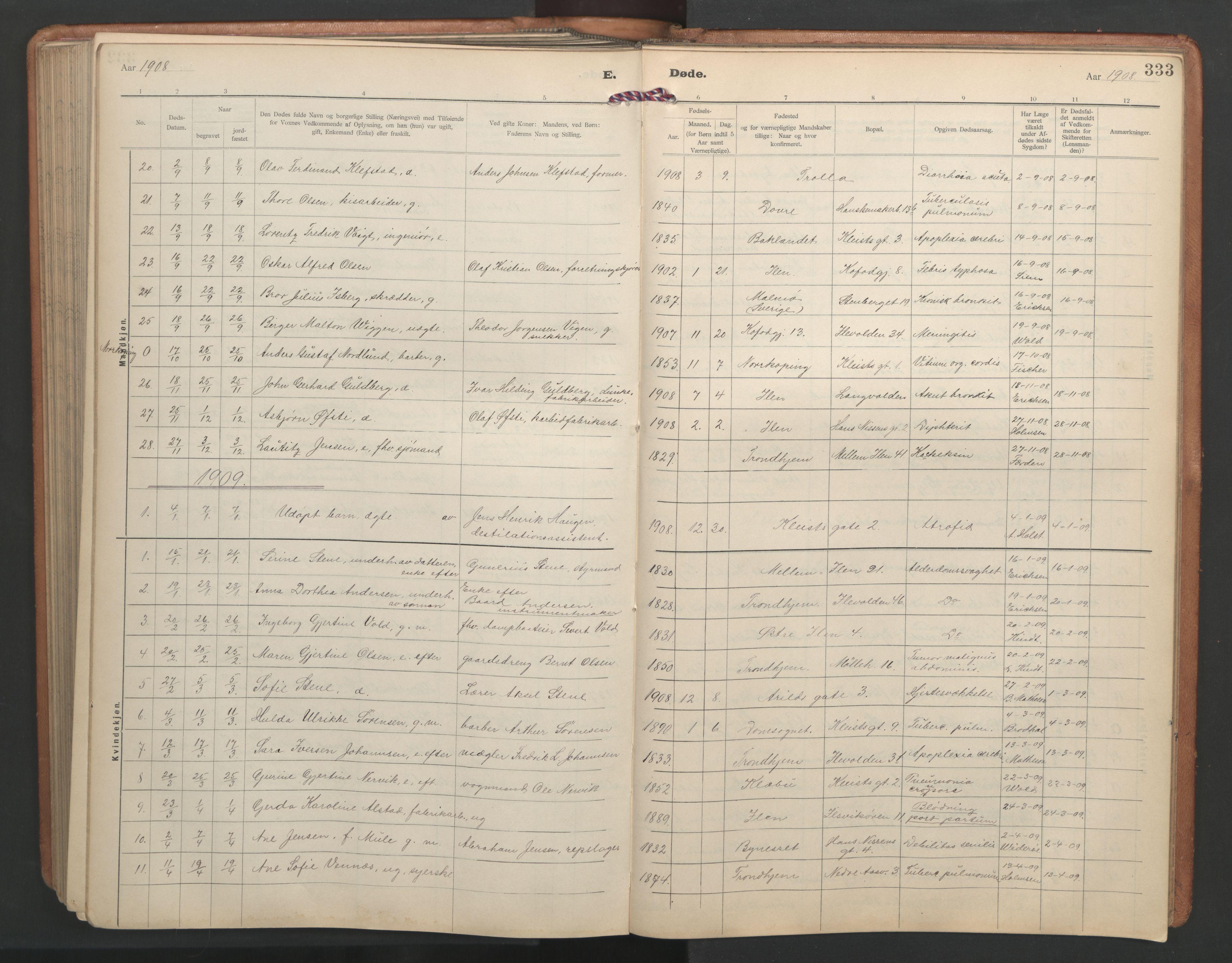 SAT, Ministerialprotokoller, klokkerbøker og fødselsregistre - Sør-Trøndelag, 603/L0173: Klokkerbok nr. 603C01, 1907-1962, s. 333
