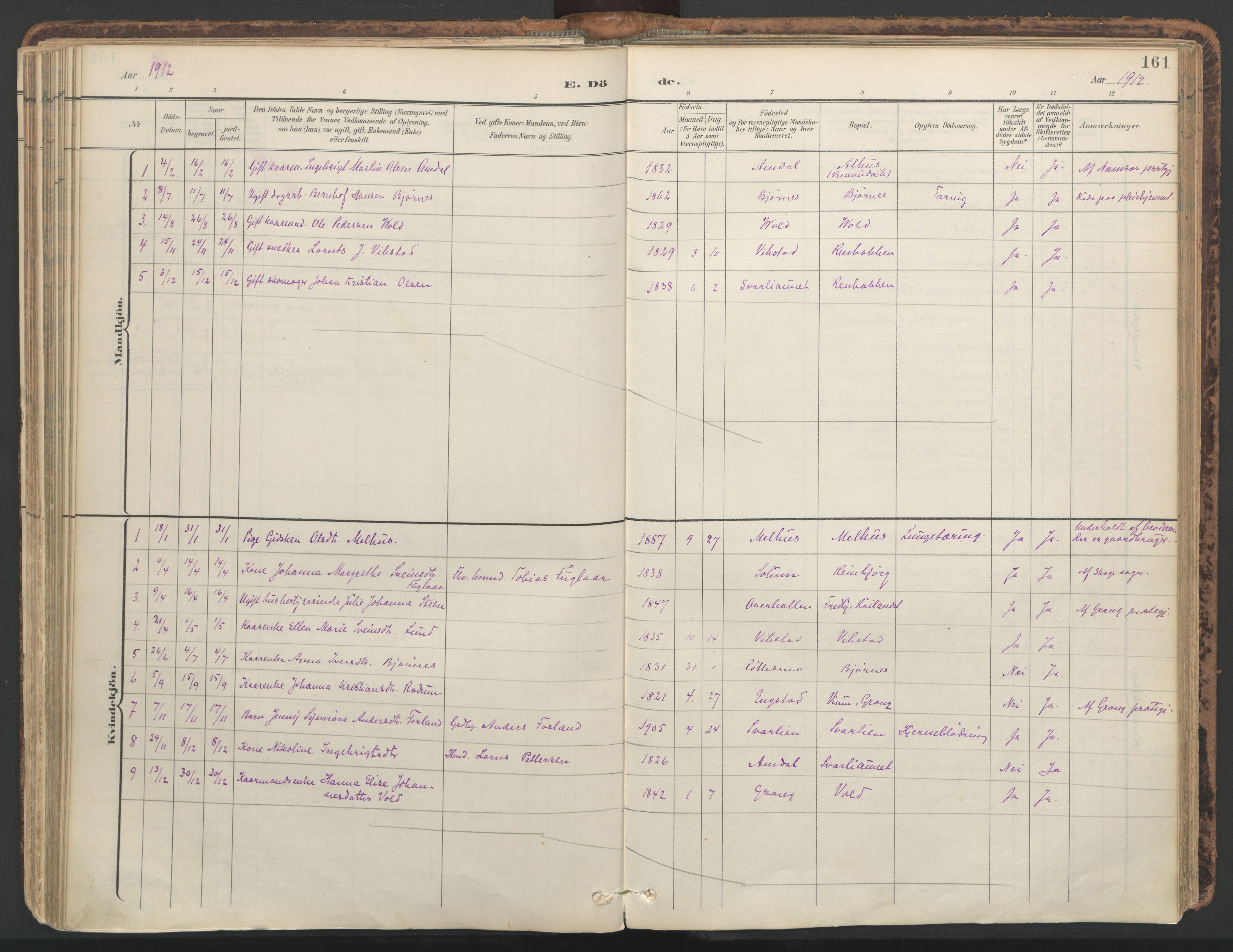 SAT, Ministerialprotokoller, klokkerbøker og fødselsregistre - Nord-Trøndelag, 764/L0556: Ministerialbok nr. 764A11, 1897-1924, s. 161