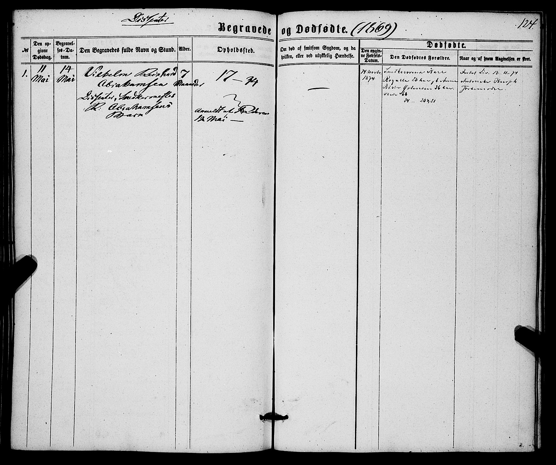 SAB, Korskirken Sokneprestembete, H/Haa/L0045: Ministerialbok nr. E 3, 1863-1875, s. 124