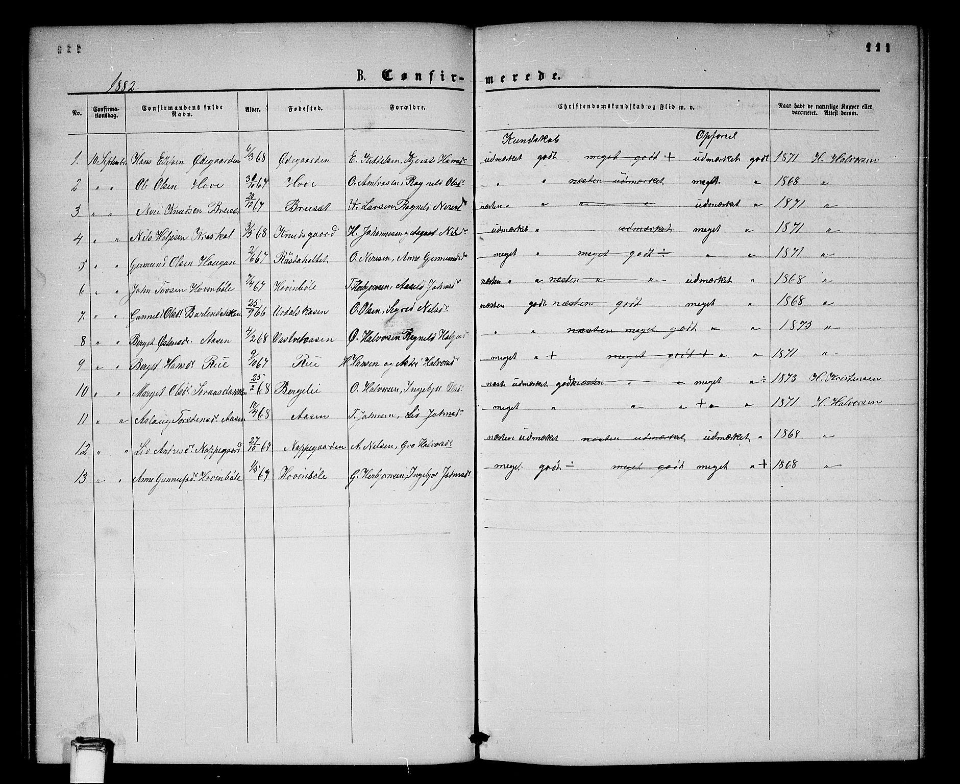 SAKO, Gransherad kirkebøker, G/Gb/L0002: Klokkerbok nr. II 2, 1860-1886, s. 111