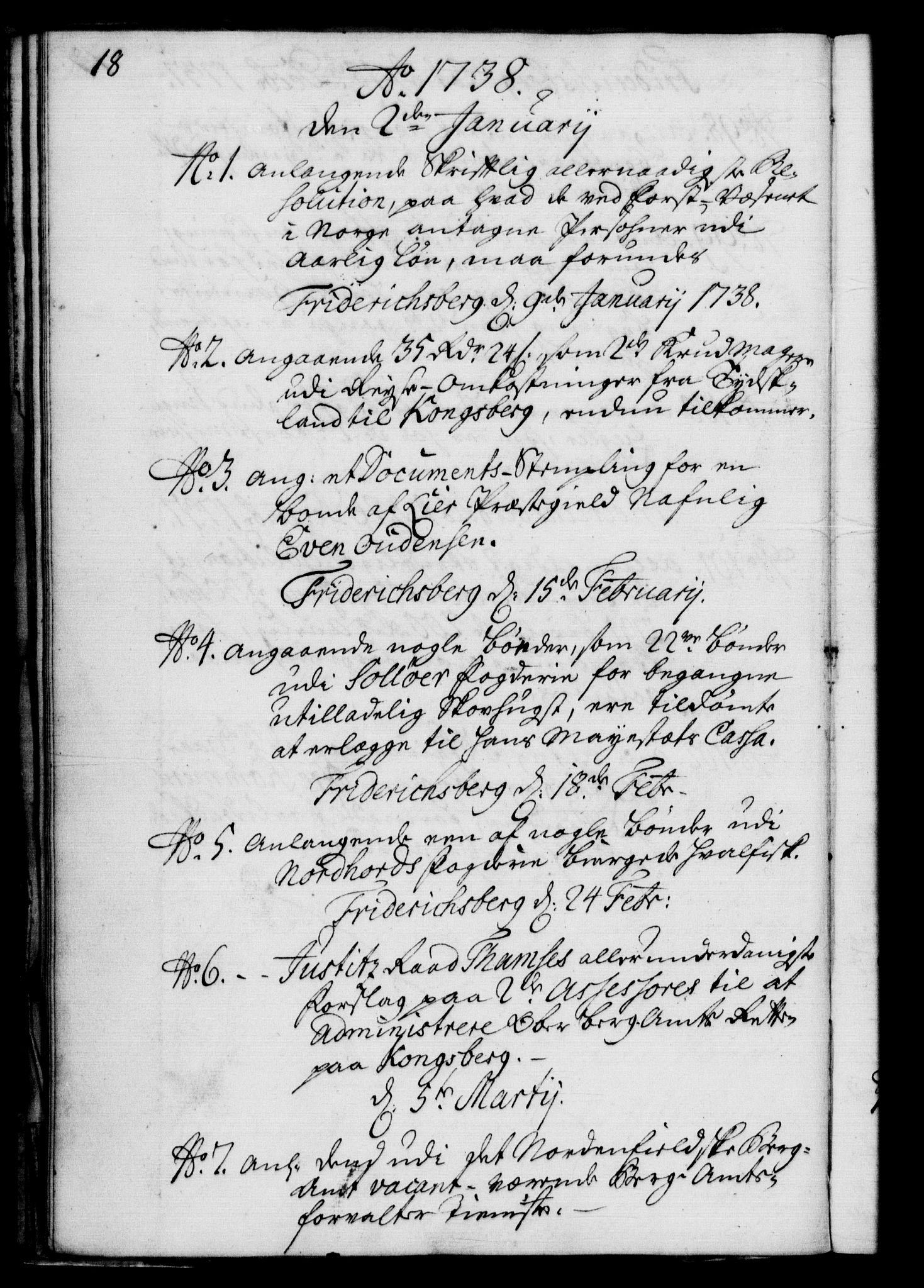 RA, Rentekammeret, Kammerkanselliet, G/Gf/Gfb/L0004: Register til norske relasjons- og resolusjonsprotokoller (merket RK 52.99), 1736-1743, s. 18