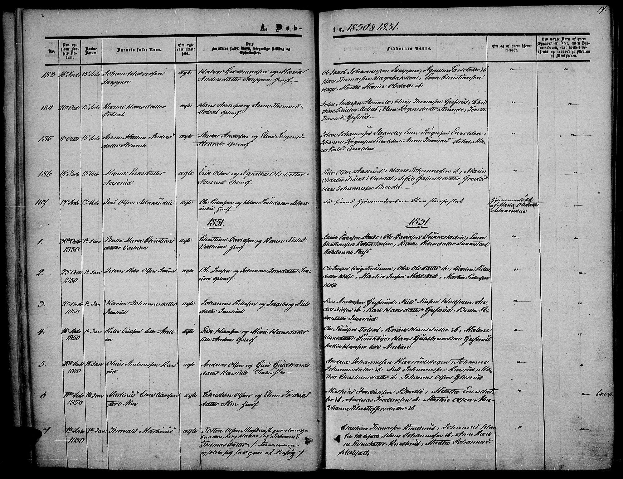 SAH, Vestre Toten prestekontor, Ministerialbok nr. 5, 1850-1855, s. 17