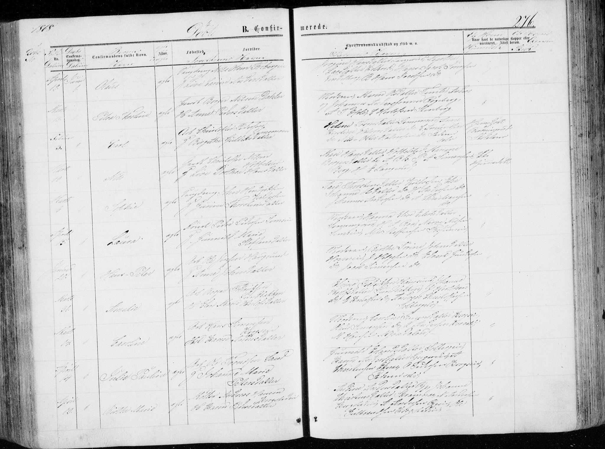 SAKO, Eiker kirkebøker, G/Ga/L0003: Klokkerbok nr. I 3, 1856-1871, s. 276