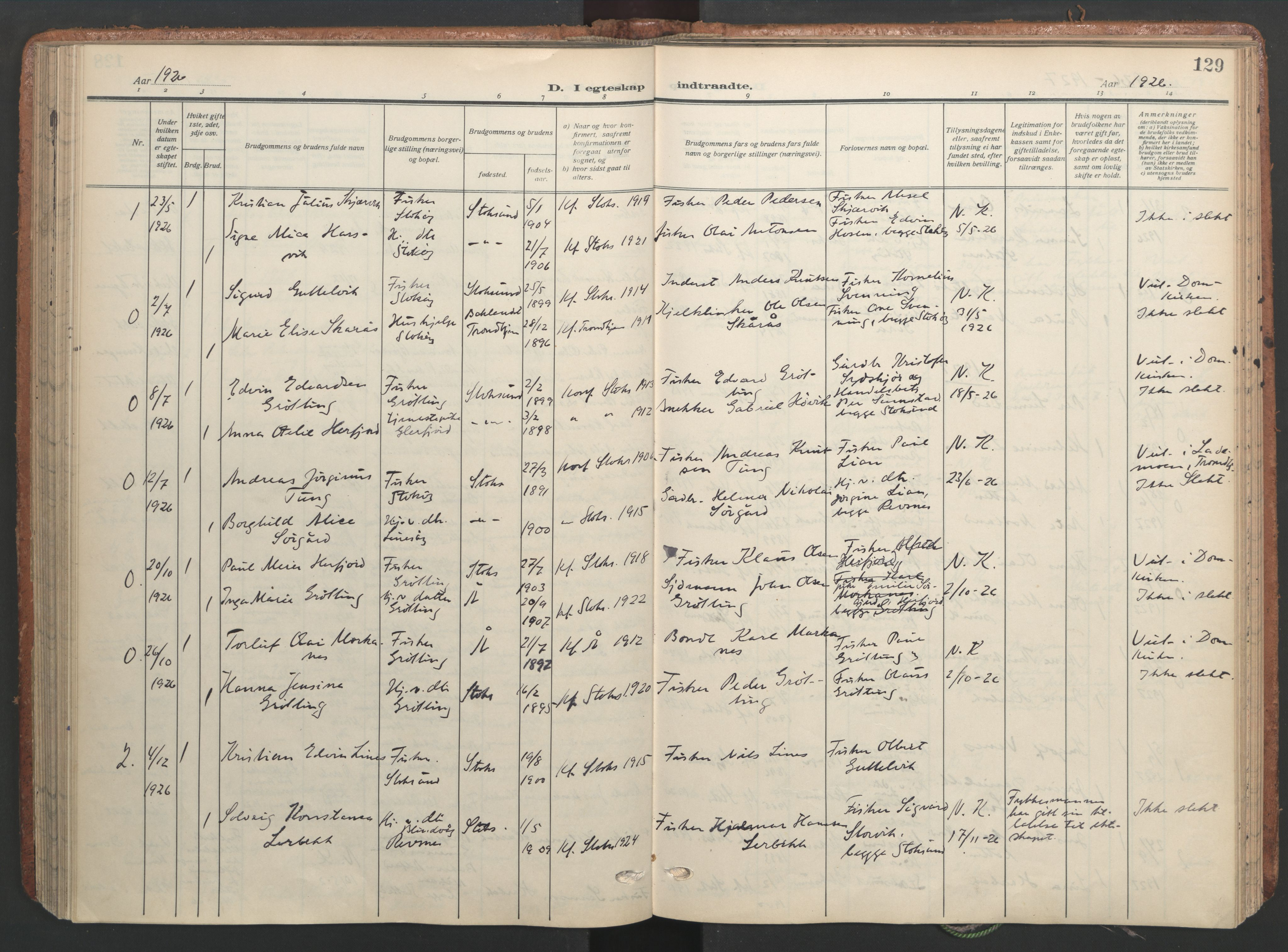 SAT, Ministerialprotokoller, klokkerbøker og fødselsregistre - Sør-Trøndelag, 656/L0694: Ministerialbok nr. 656A03, 1914-1931, s. 129