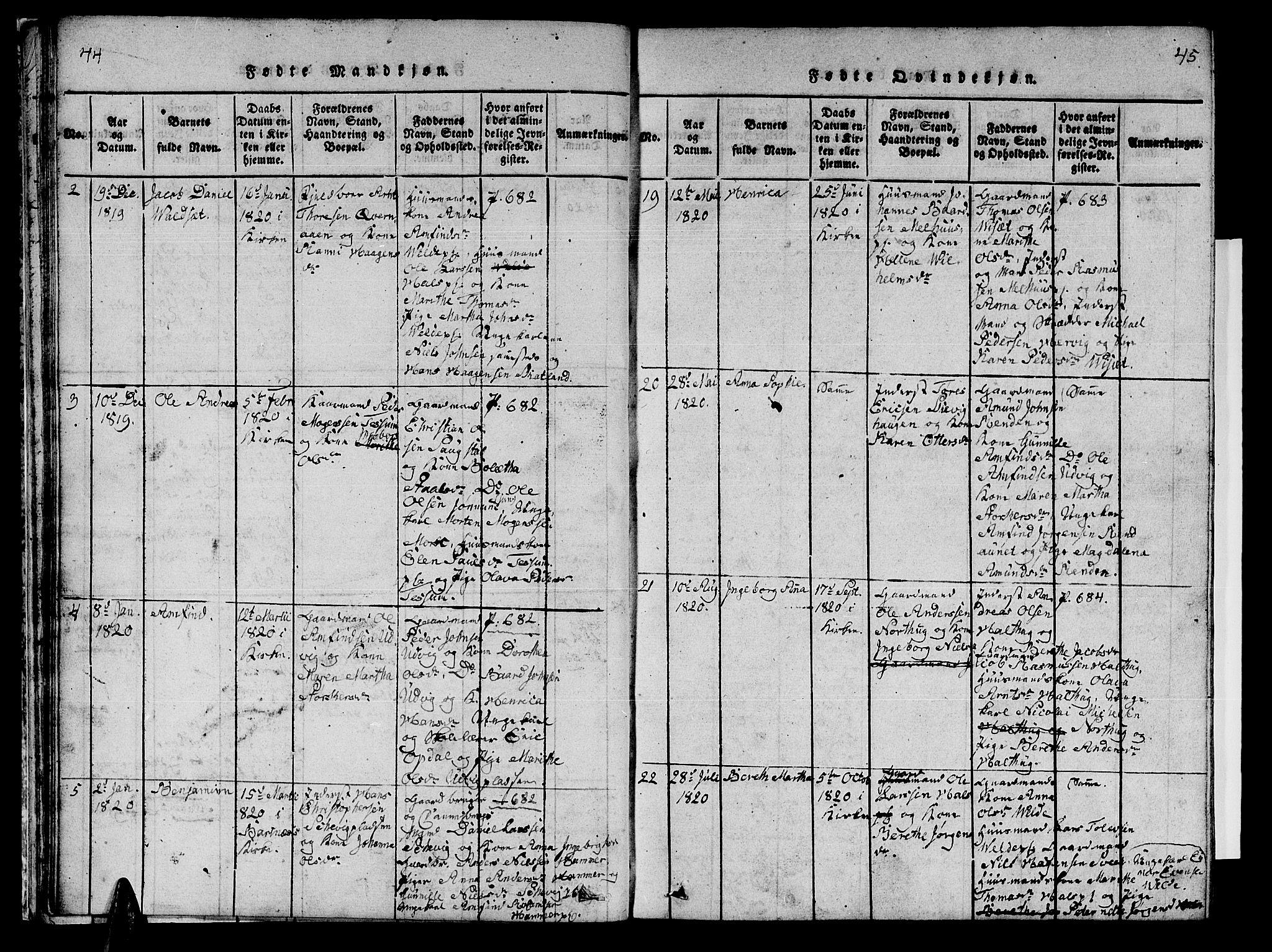 SAT, Ministerialprotokoller, klokkerbøker og fødselsregistre - Nord-Trøndelag, 741/L0400: Klokkerbok nr. 741C01, 1817-1825, s. 44-45
