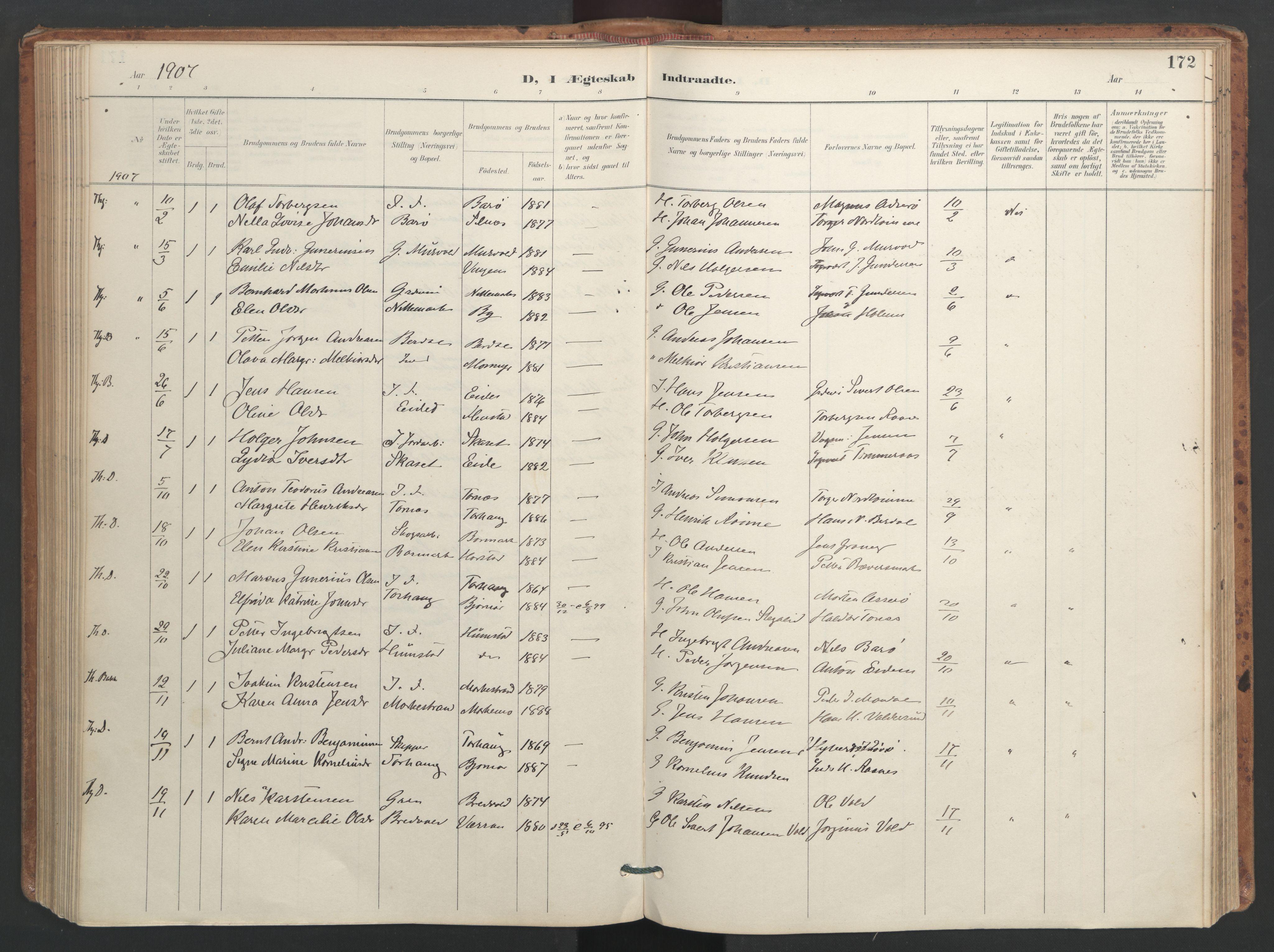 SAT, Ministerialprotokoller, klokkerbøker og fødselsregistre - Sør-Trøndelag, 655/L0681: Ministerialbok nr. 655A10, 1895-1907, s. 172
