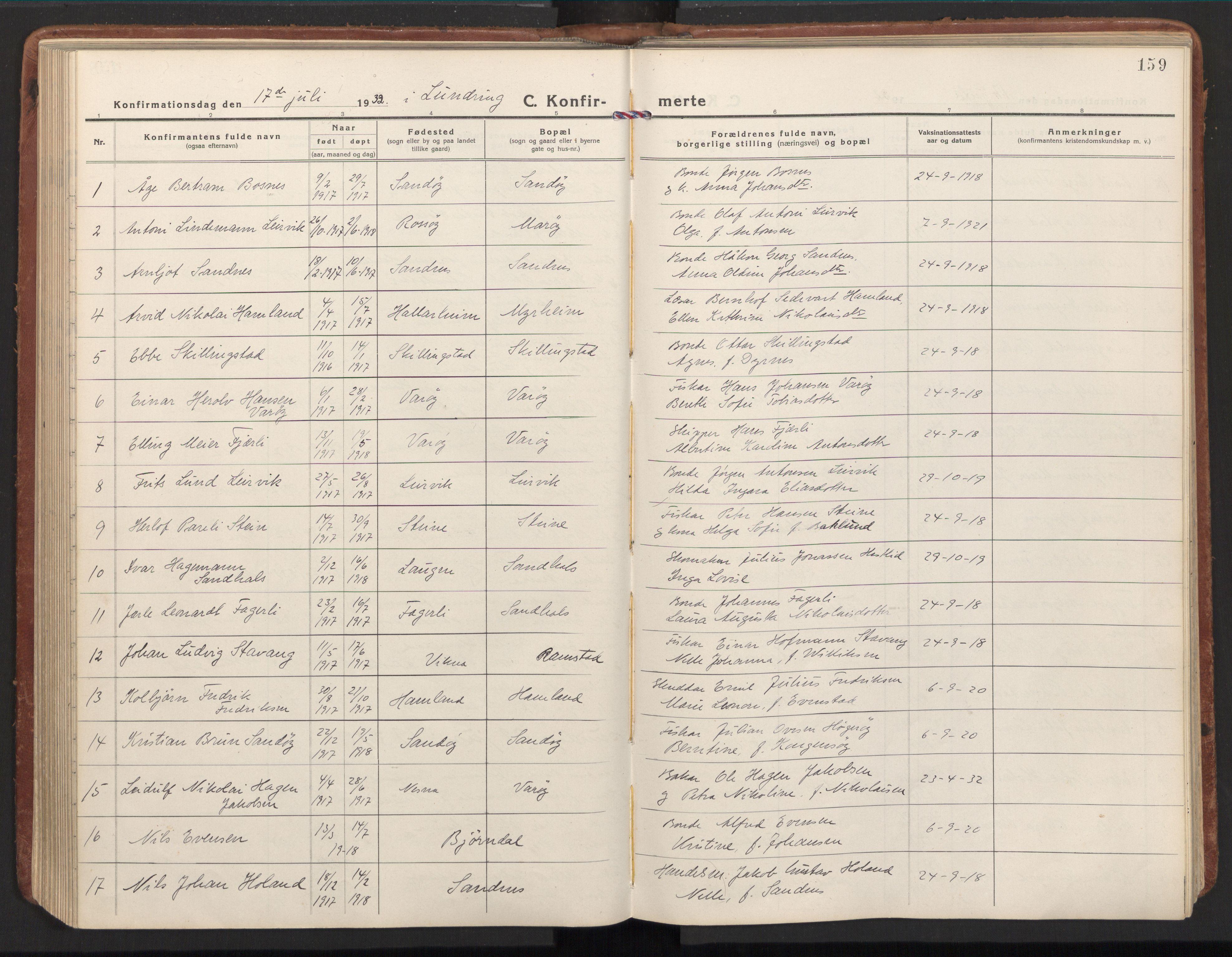 SAT, Ministerialprotokoller, klokkerbøker og fødselsregistre - Nord-Trøndelag, 784/L0678: Ministerialbok nr. 784A13, 1921-1938, s. 159