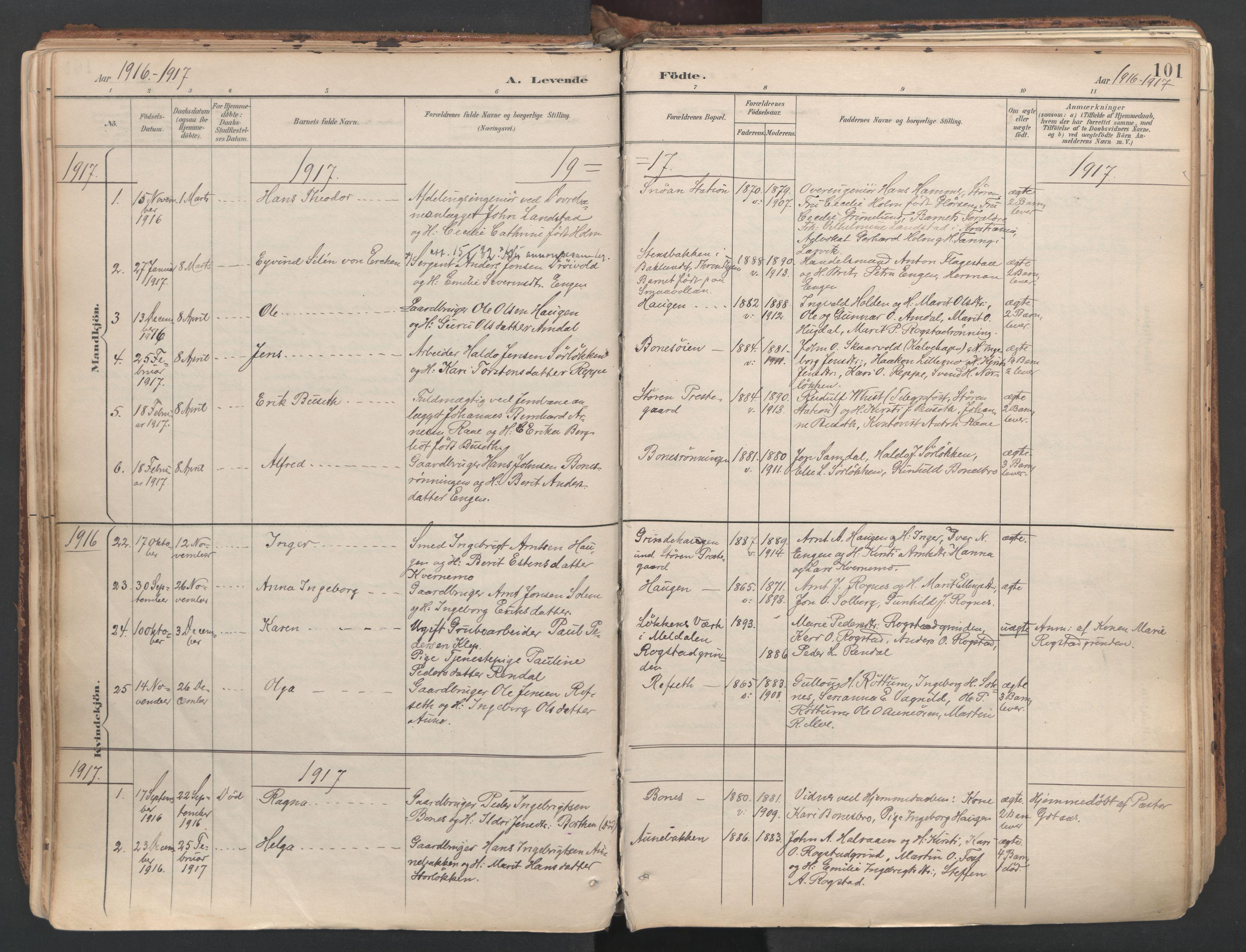 SAT, Ministerialprotokoller, klokkerbøker og fødselsregistre - Sør-Trøndelag, 687/L1004: Ministerialbok nr. 687A10, 1891-1923, s. 101