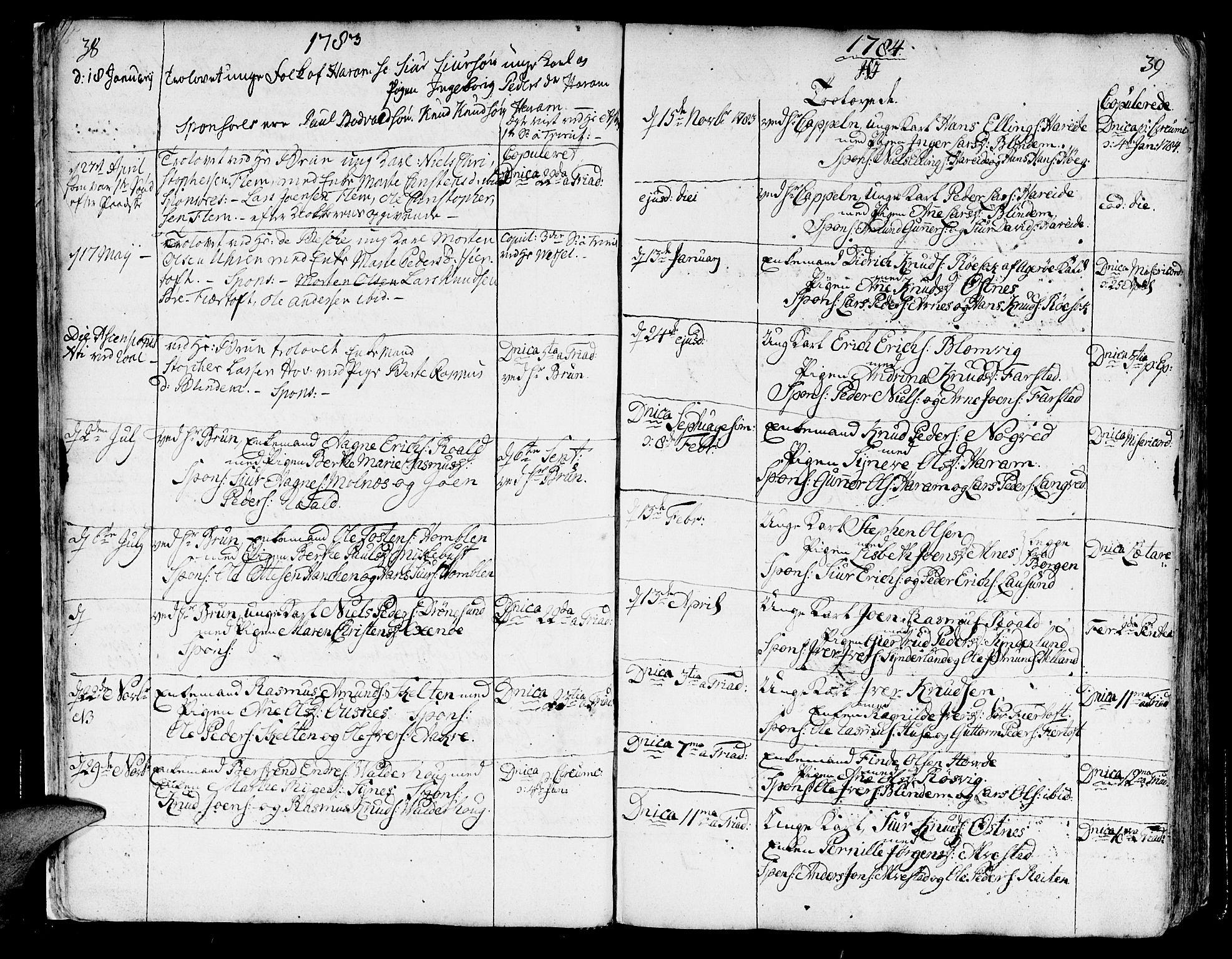 SAT, Ministerialprotokoller, klokkerbøker og fødselsregistre - Møre og Romsdal, 536/L0493: Ministerialbok nr. 536A02, 1739-1802, s. 38-39