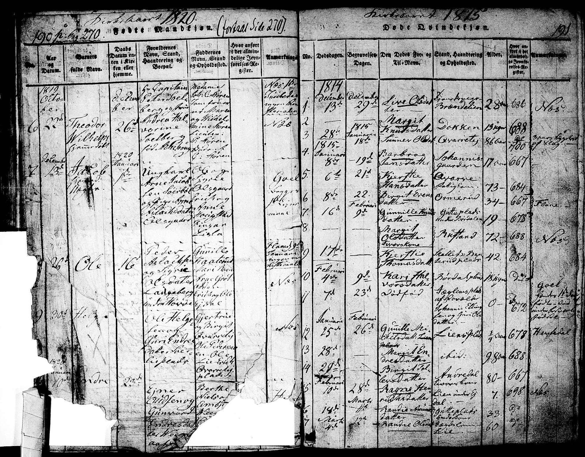 SAKO, Nes kirkebøker, F/Fa/L0007: Ministerialbok nr. 7, 1815-1823, s. 190-191