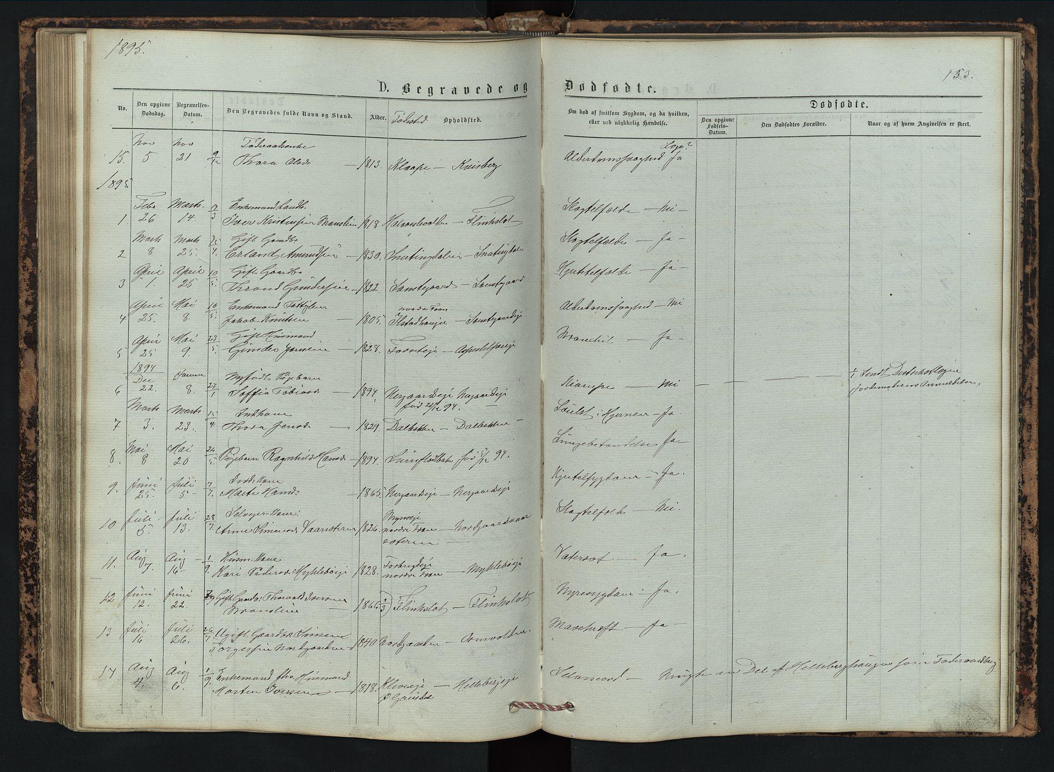 SAH, Vestre Gausdal prestekontor, Klokkerbok nr. 2, 1874-1897, s. 153