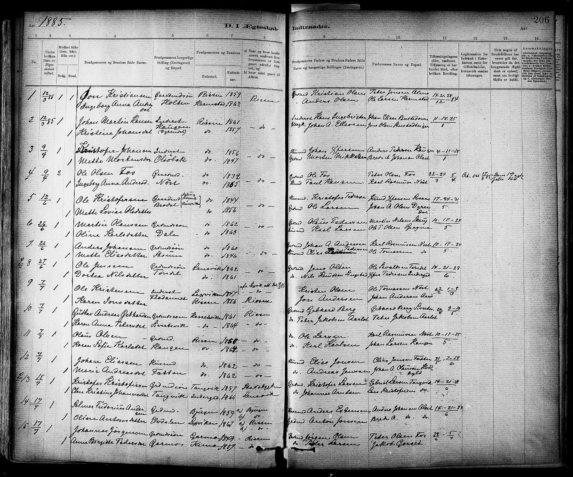 SAT, Ministerialprotokoller, klokkerbøker og fødselsregistre - Sør-Trøndelag, 647/L0634: Ministerialbok nr. 647A01, 1885-1896, s. 206