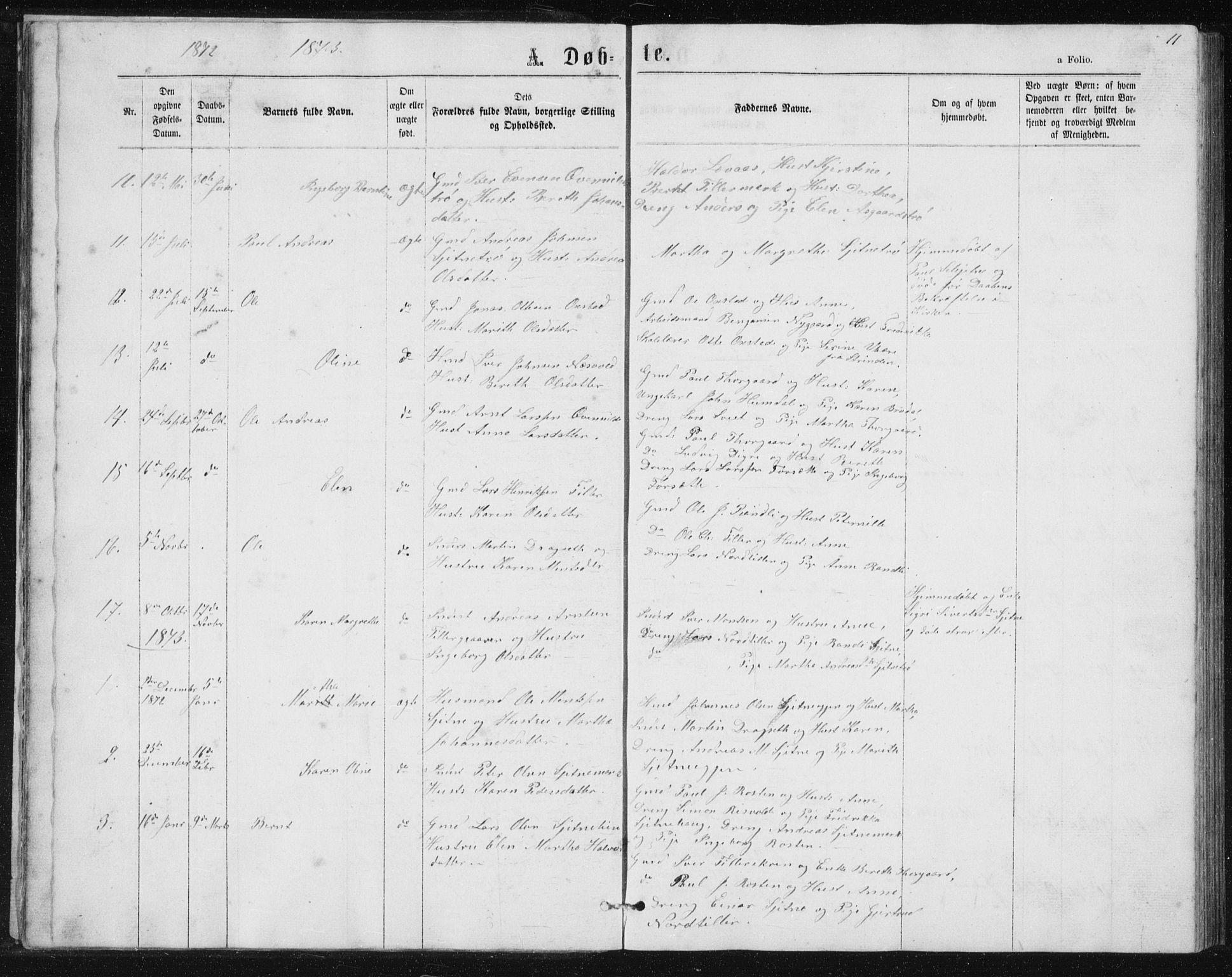 SAT, Ministerialprotokoller, klokkerbøker og fødselsregistre - Sør-Trøndelag, 621/L0459: Klokkerbok nr. 621C02, 1866-1895, s. 11