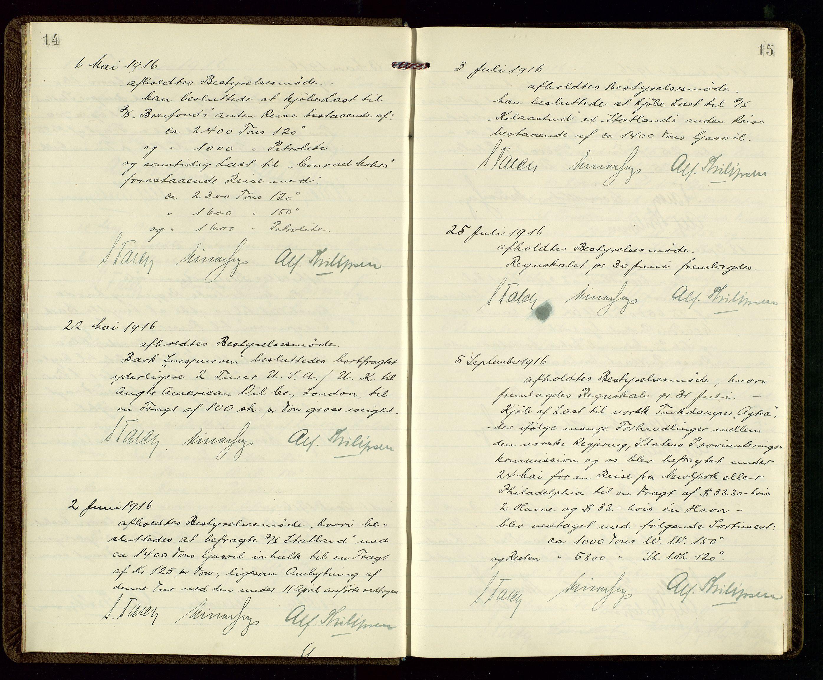 SAST, PA 1533 - A/S Vestlandske Petroleumscompani, A/Aa/L0001: Generalforsamlinger og styreprotokoller, 1915-1922, s. 14-15