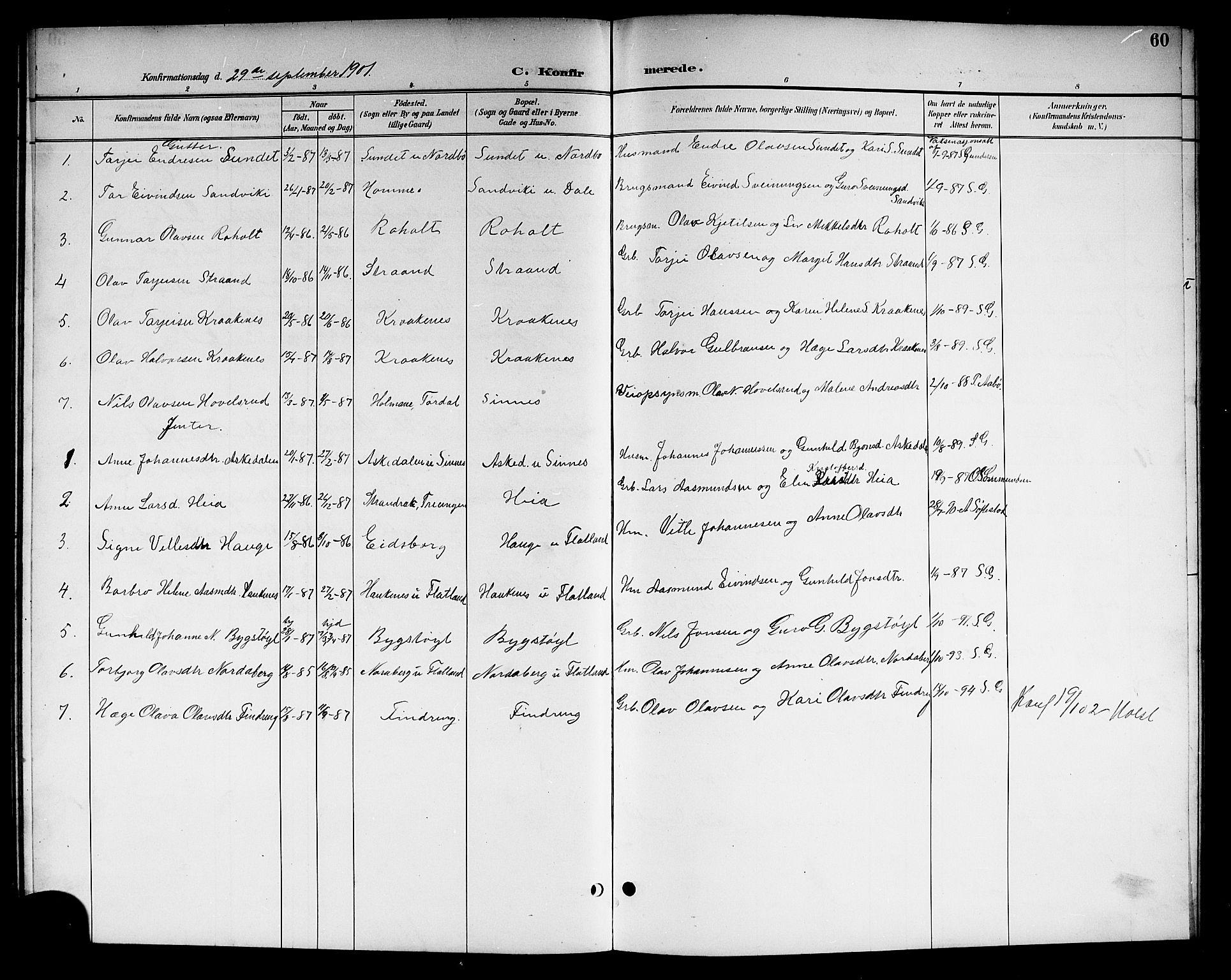 SAKO, Kviteseid kirkebøker, G/Gc/L0001: Klokkerbok nr. III 1, 1893-1916, s. 60