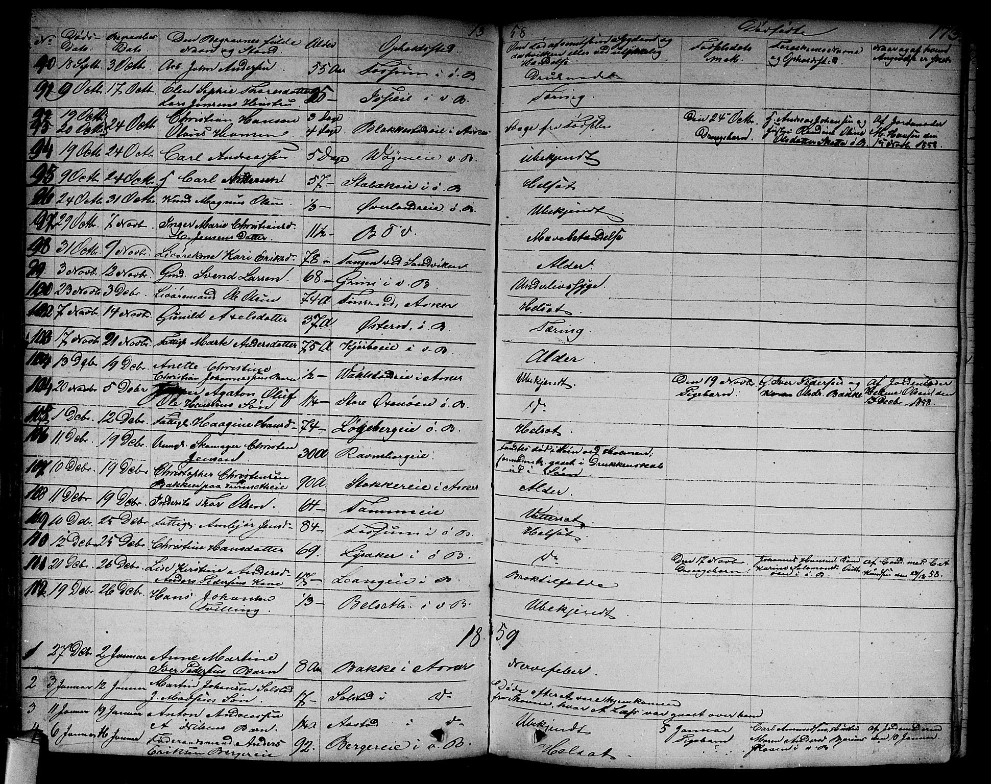SAO, Asker prestekontor Kirkebøker, F/Fa/L0011: Ministerialbok nr. I 11, 1825-1878, s. 173